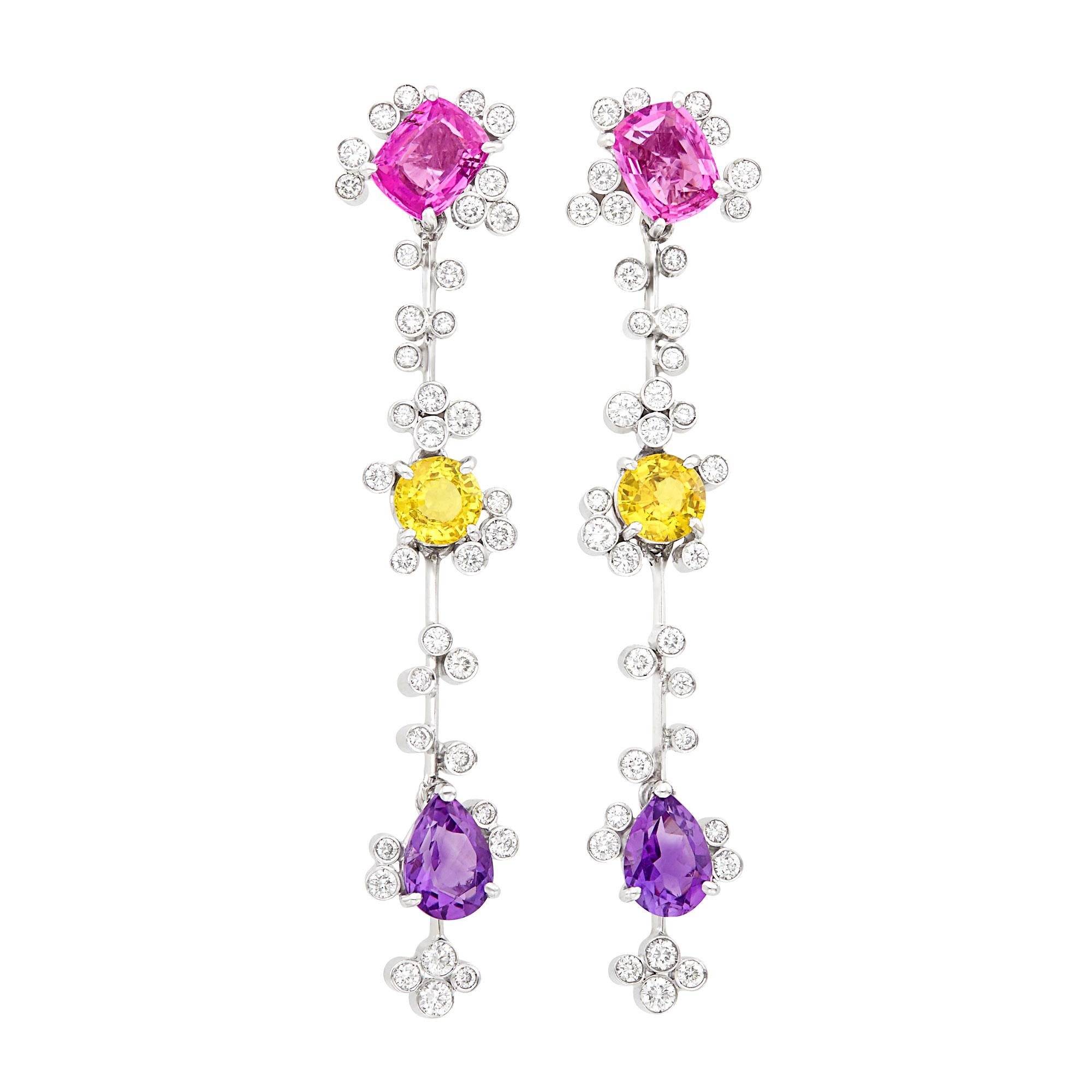 Lot image - Pair of White Gold, Multicolored Sapphire and Diamond Pendant-Earrings
