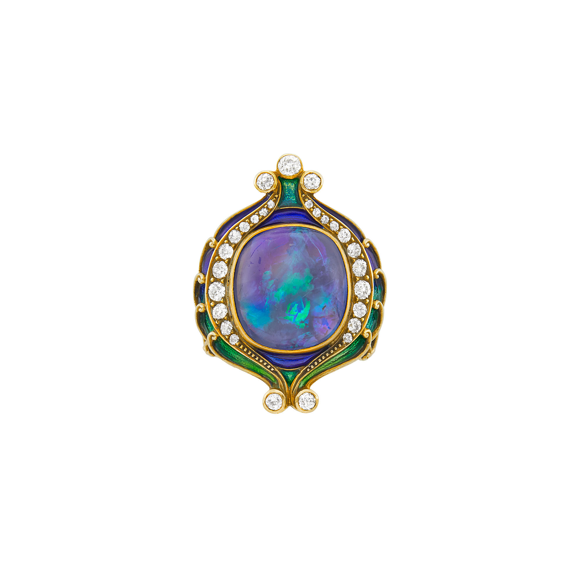 Lot image - Gold, Black Opal, Enamel and Diamond Ring, Marcus & Co.