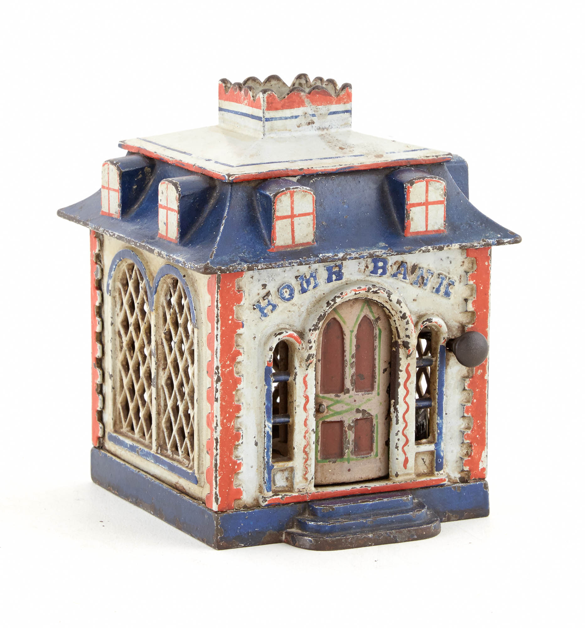 Lot image - Home Bank Cast Iron Mechanical Bank with Dormers