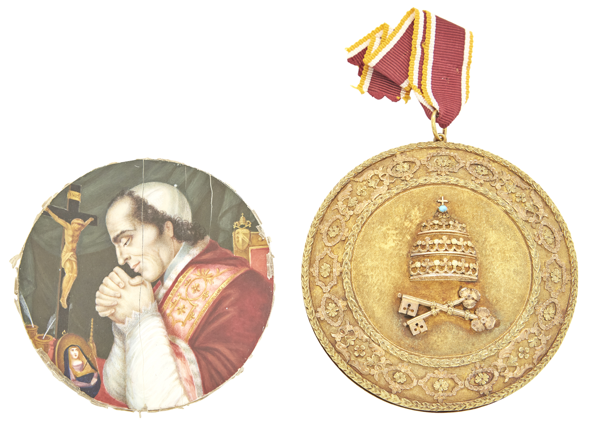 Lot image - Italian Papal Medallion and Miniature Portrait of Pope Pius VII