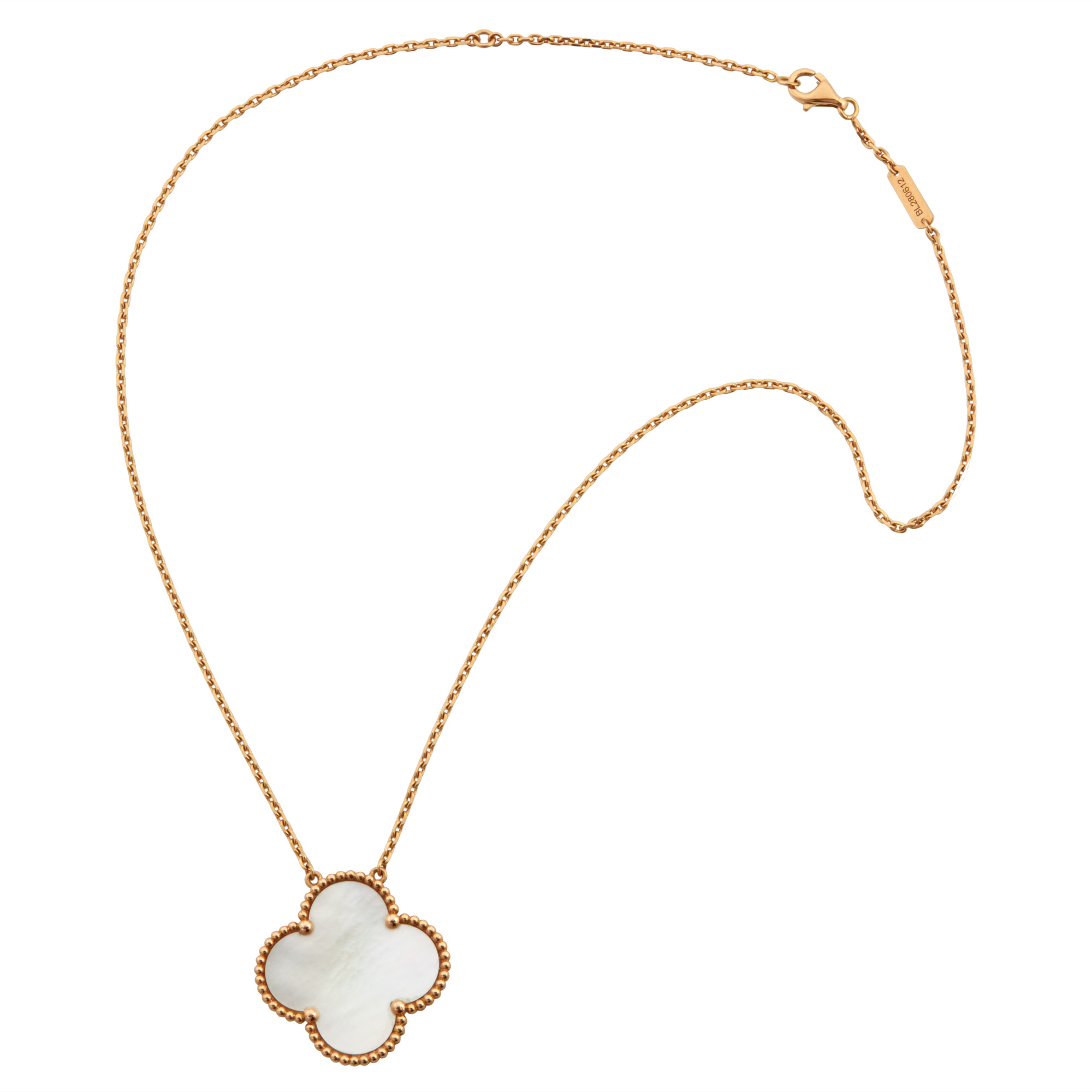 Lot image - Van Cleef & Arpels Gold and Mother-of-Pearl Alhambra Pendant- Necklace