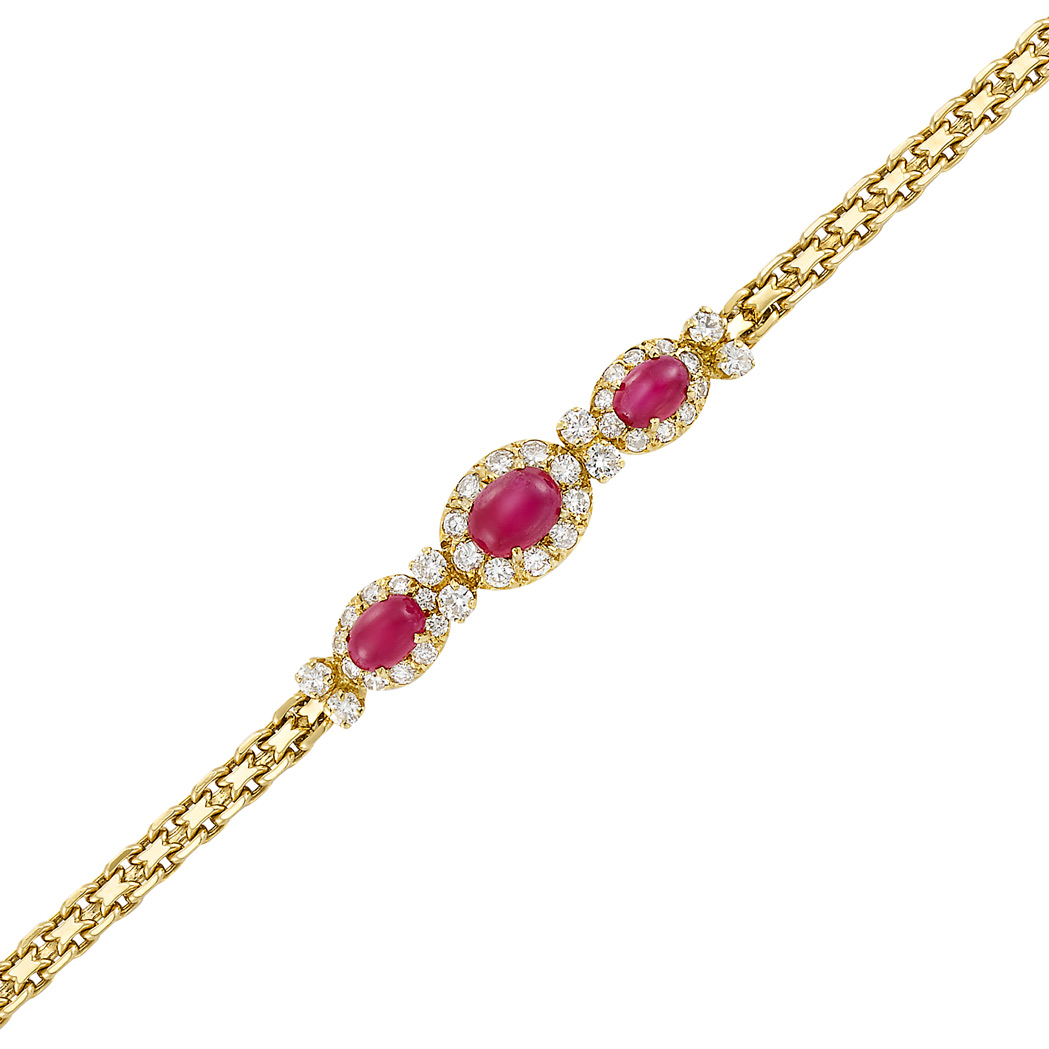Lot image - Gold, Ruby and Diamond Bracelet, Van Cleef & Arpels, France