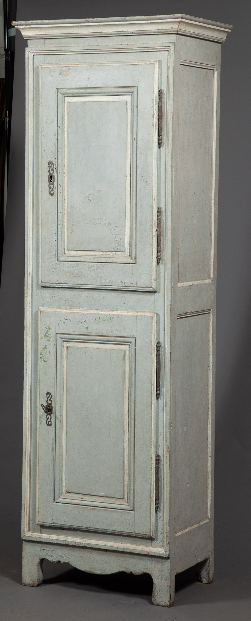 Lot image - Continental Neoclassical Grey-Painted Tall Cabinet