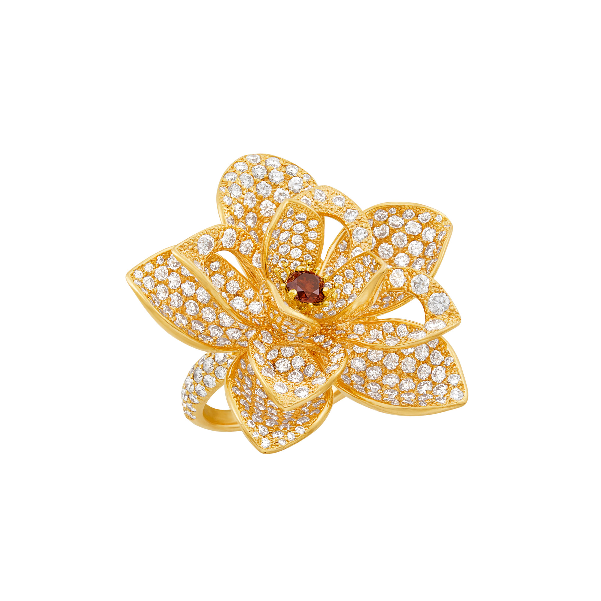 Lot image - Rose Gold, Diamond and Colored Diamond Lotus Ring, Kwiat