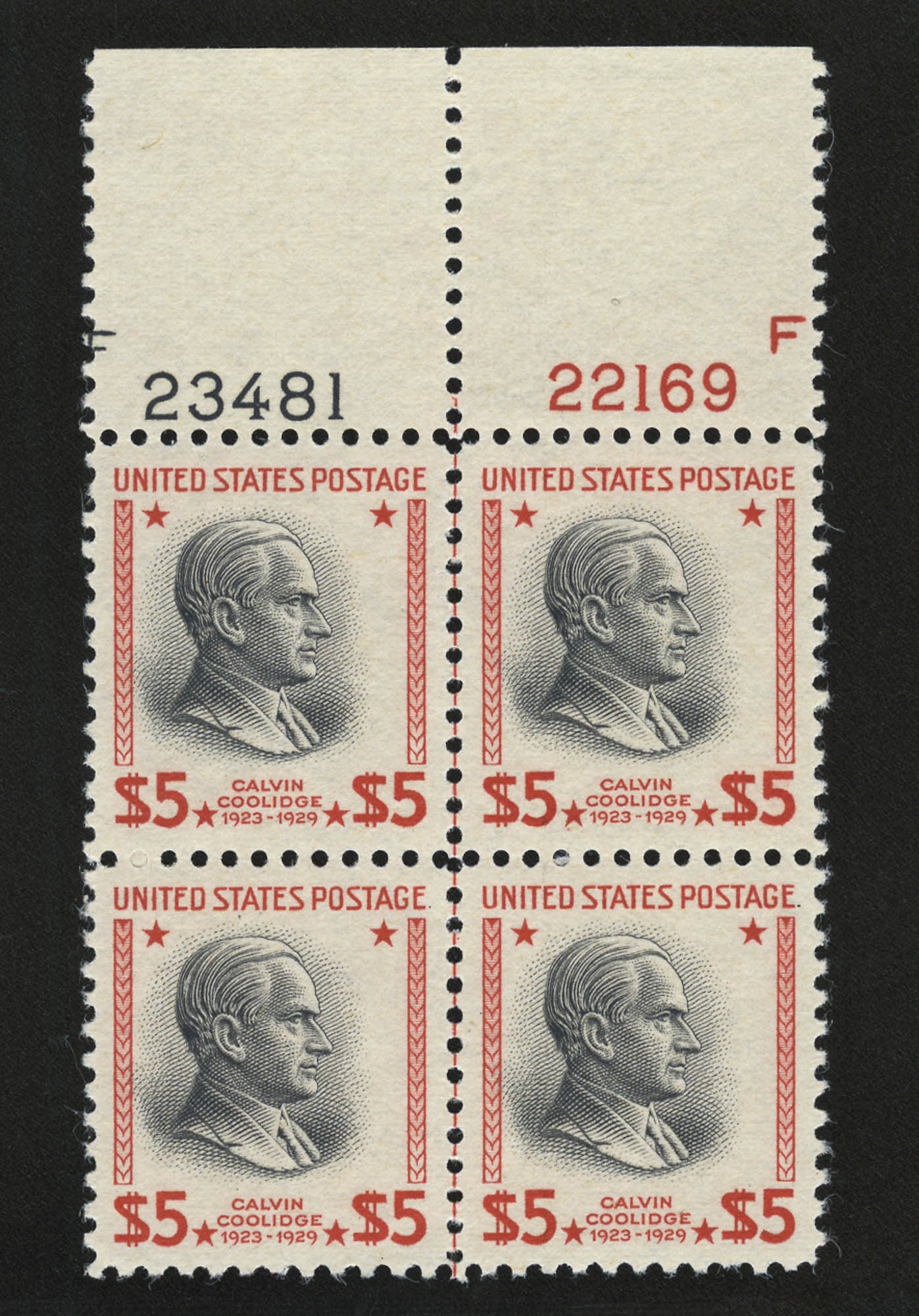 Lot image - United States 1938 $5 Presidential Plate Block