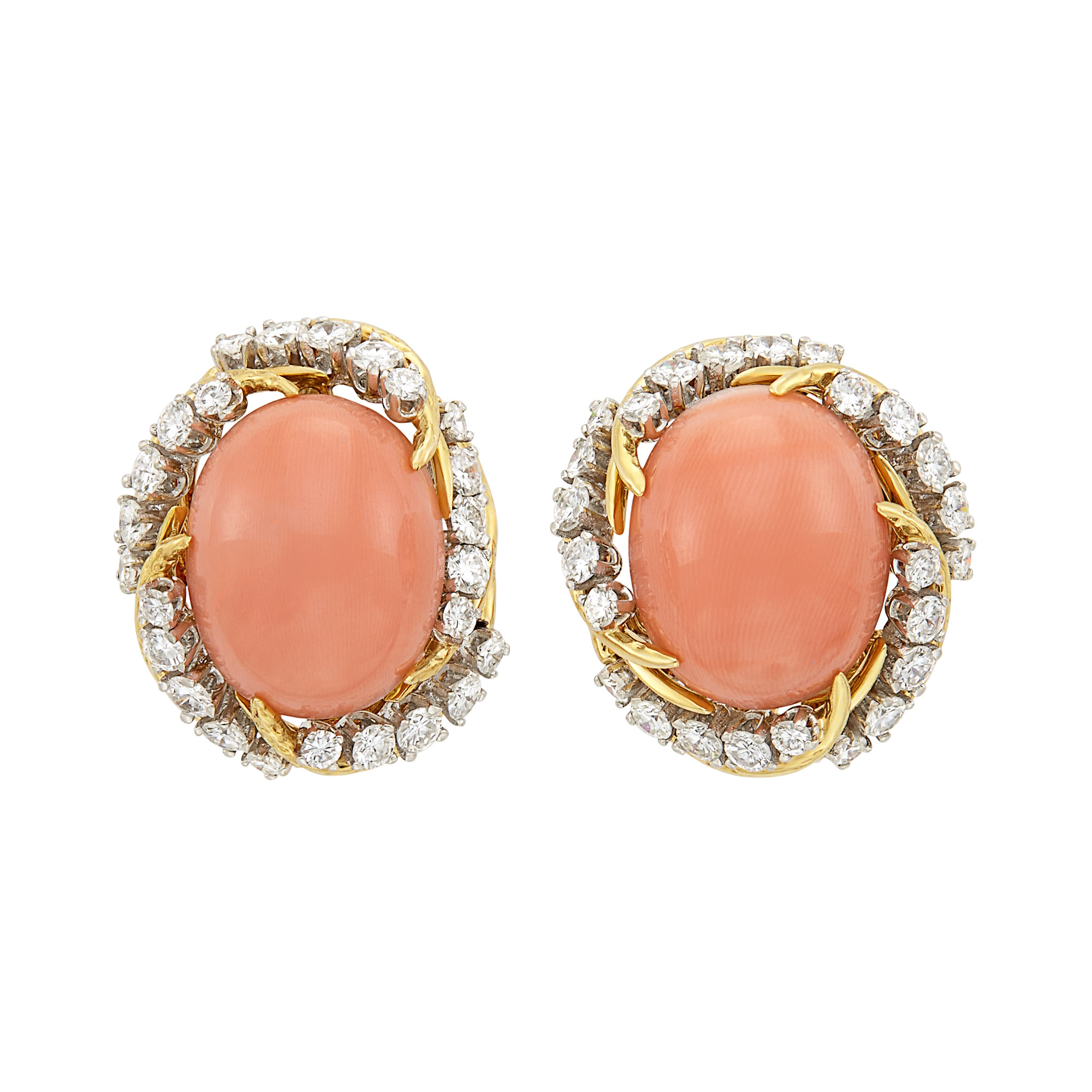 Lot image - Pair of Gold, Platinum, Coral and Diamond Earclips, France