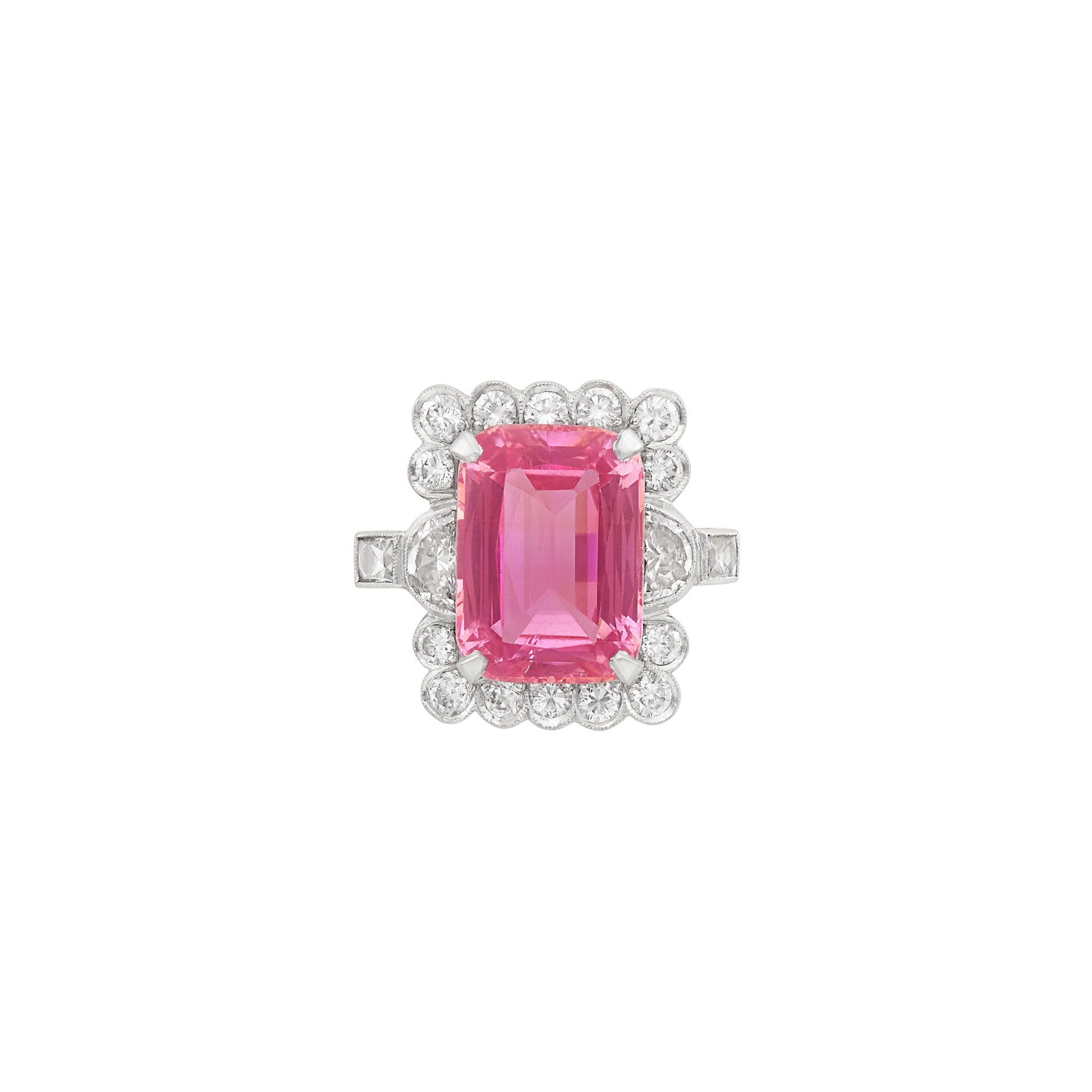 Lot image - Platinum, Pink Topaz and Diamond Ring
