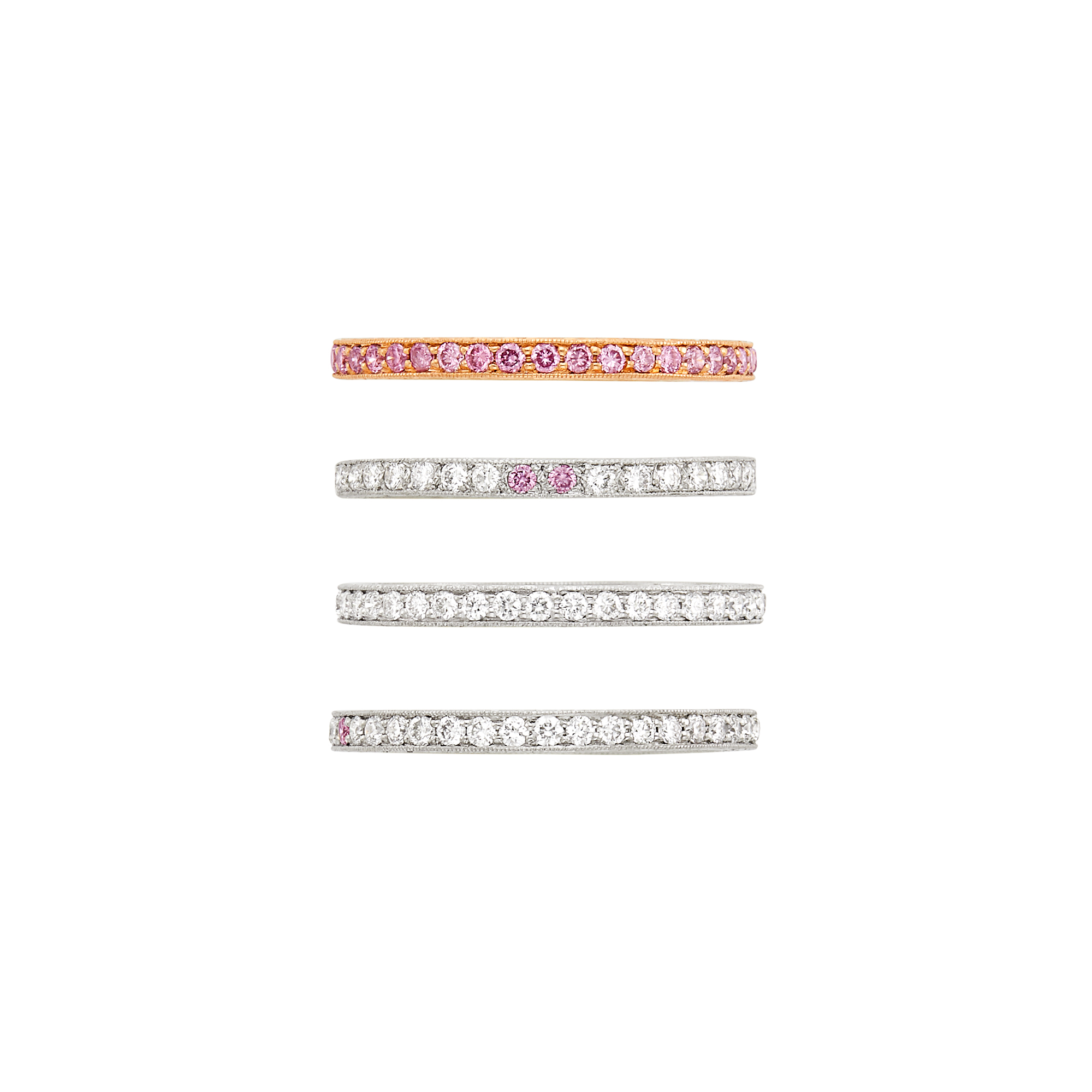 Lot image - Three White Gold, Diamond and Pink Diamond Band Rings and Rose Gold and Pink Diamond Band Ring