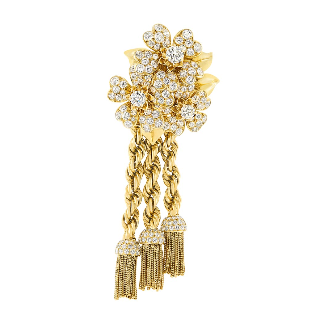 Lot image - Gold and Diamond Floral Tassel Clip-Brooch, Van Cleef & Arpels