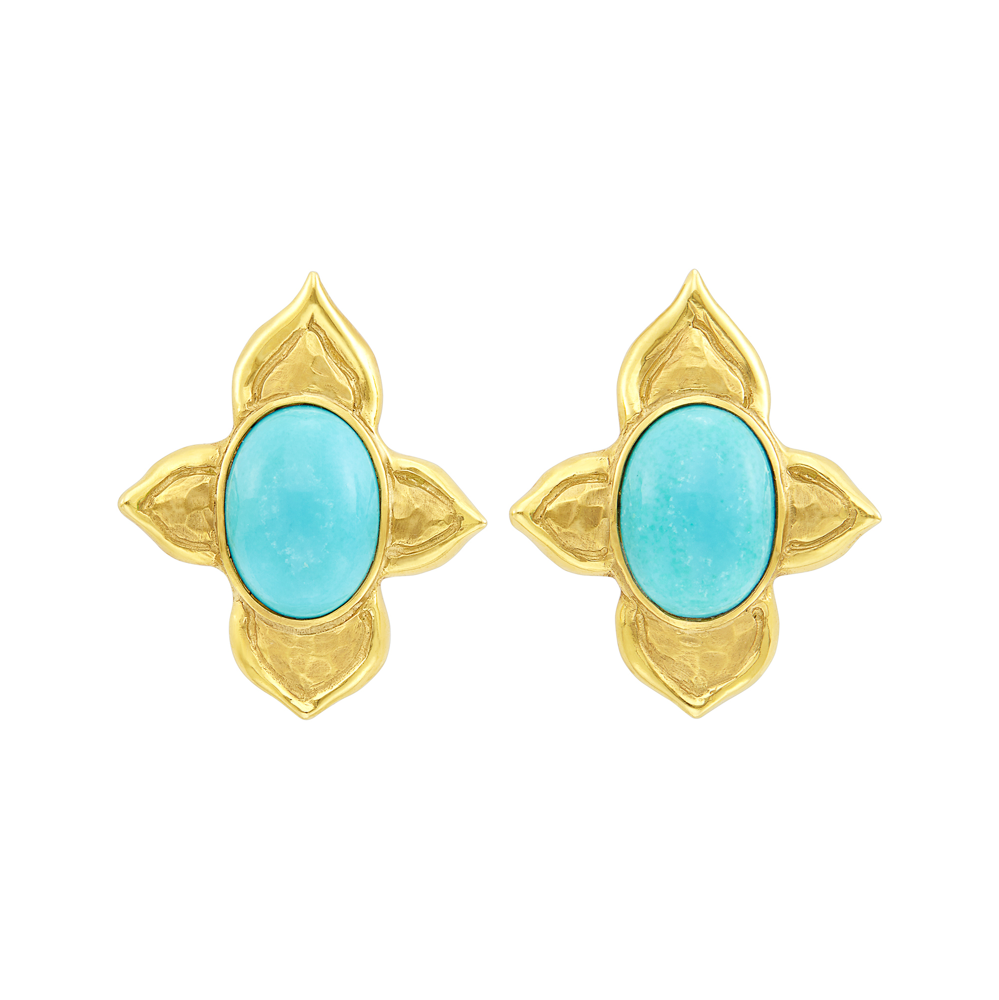 Lot image - Pair of Gold and Turquoise Flower Earclips