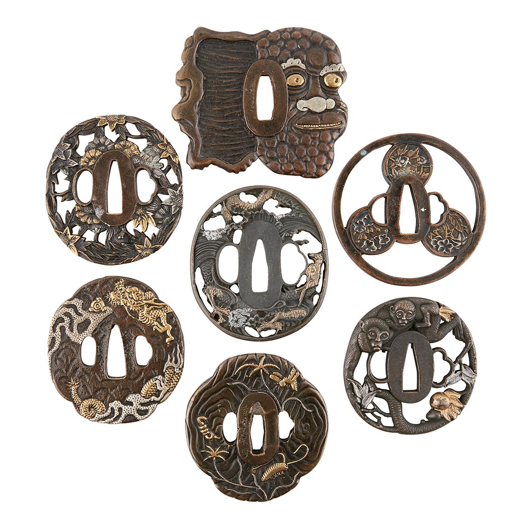 Lot image - Group of Seven Japanese Tsuba