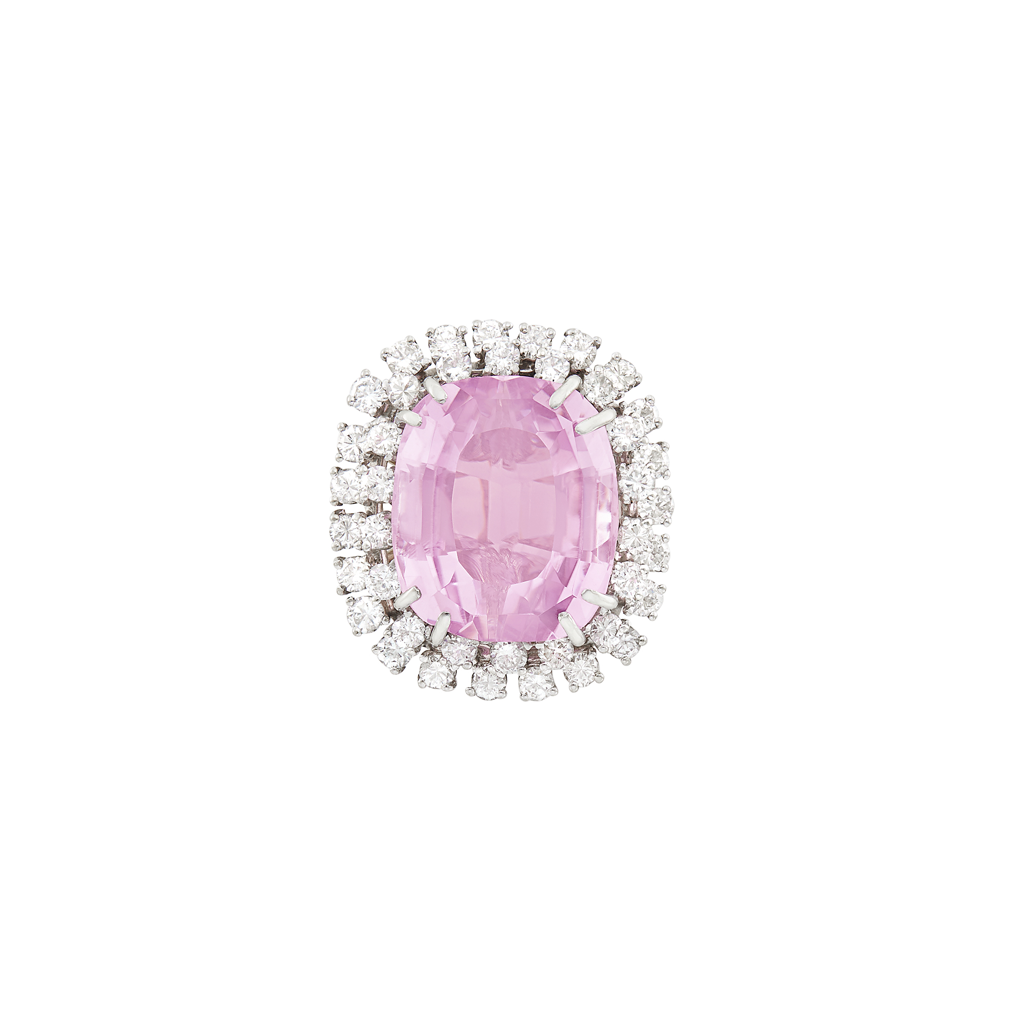 Lot image - Two-Color Gold, Kunzite and Diamond Ring