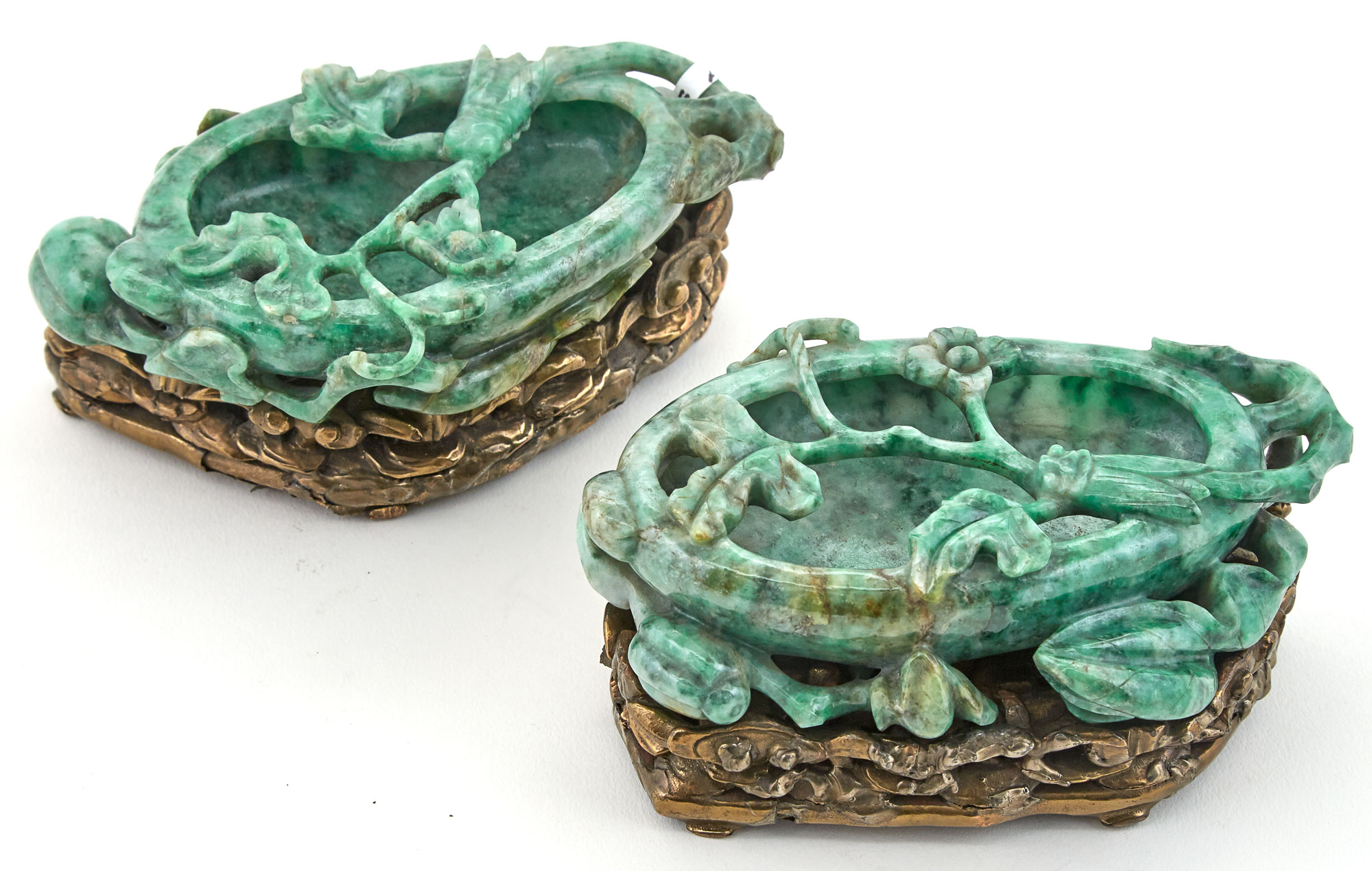 Lot image - Pair of Chinese Jadeite Brushwashers on Giltwood Stands