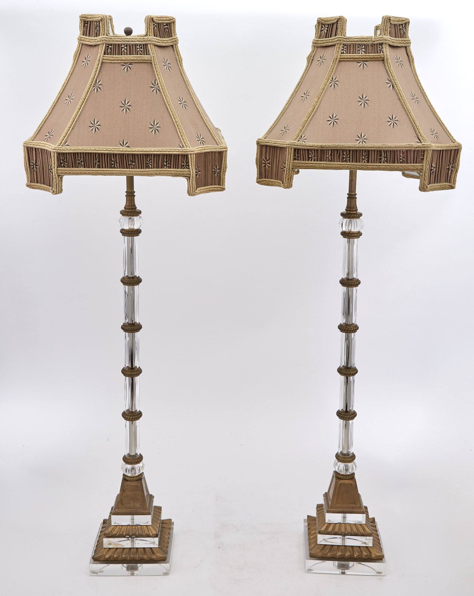 Lot image - Pair of Gilt-Metal, Glass and Acrylic Columnar Lamps