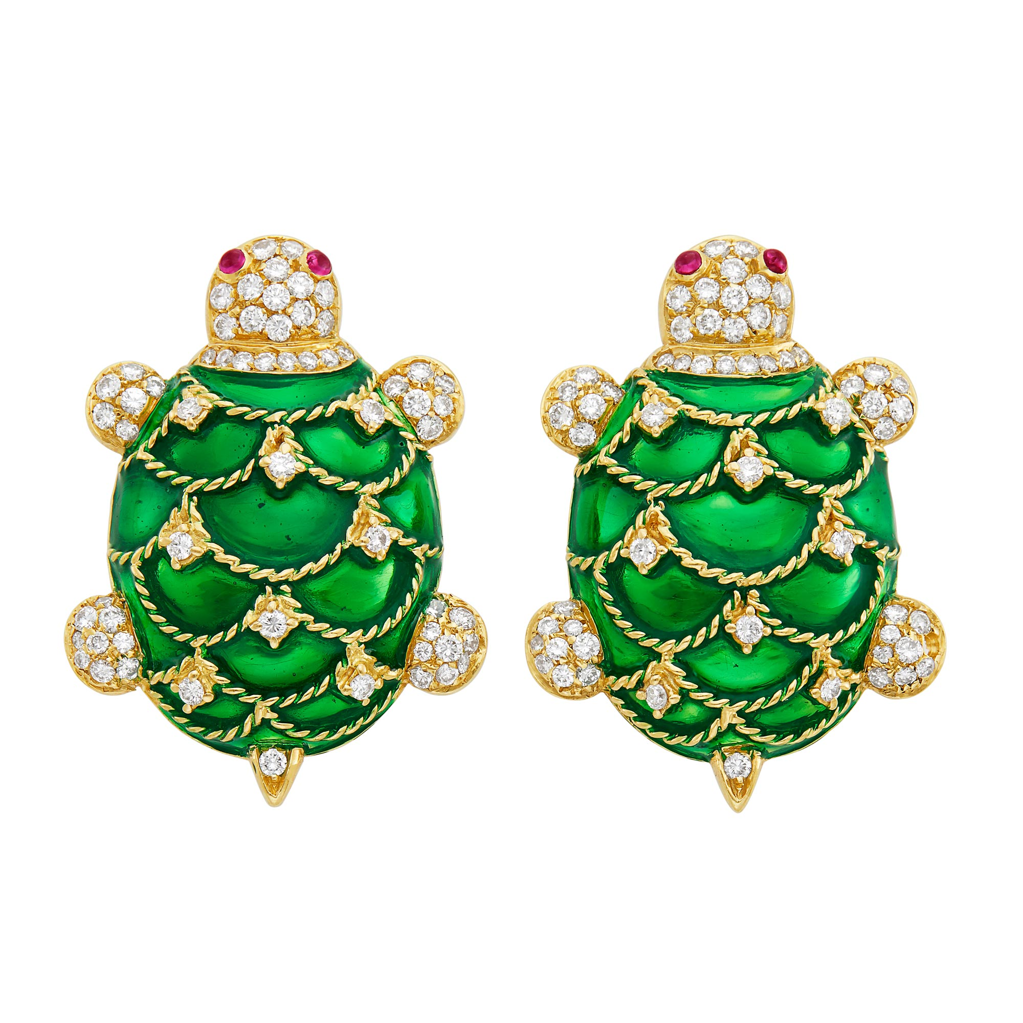 Lot image - Pair of Gold, Green Enamel and Diamond Turtle Cufflinks
