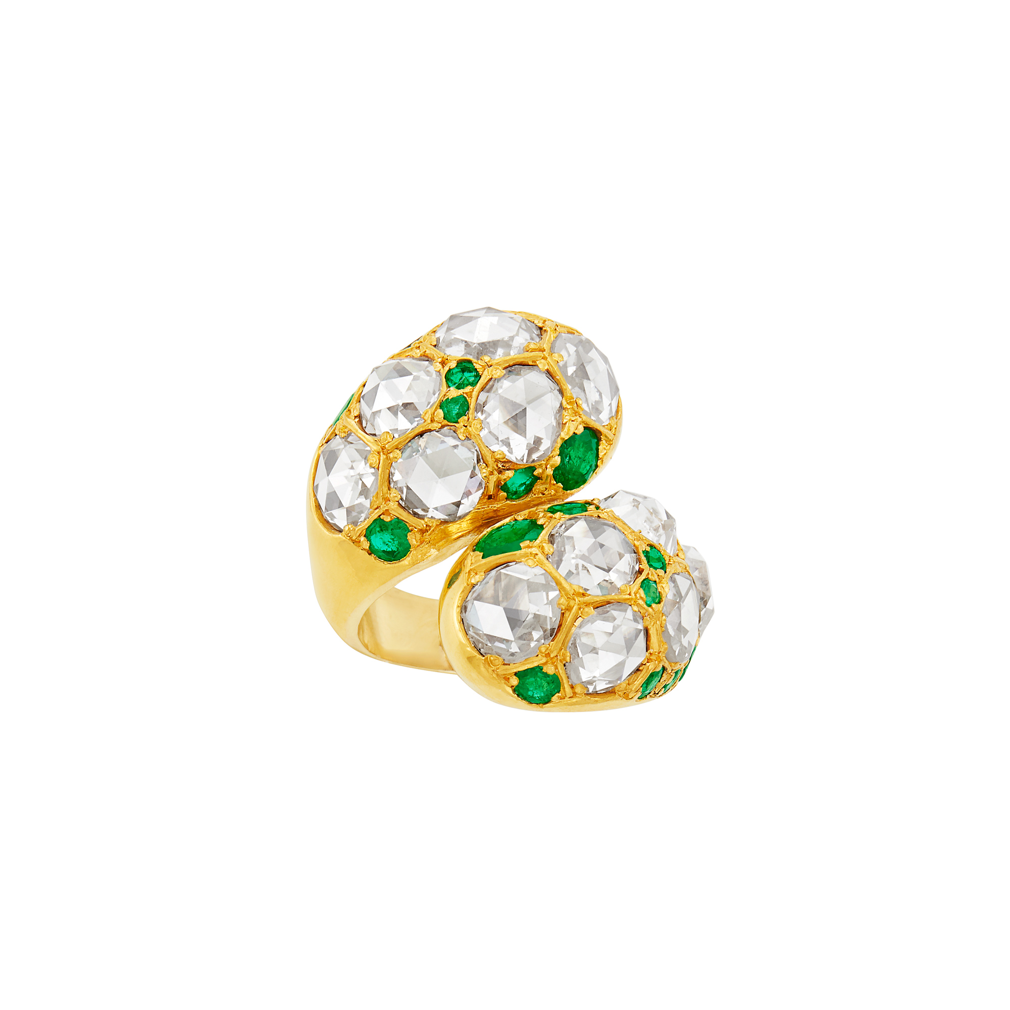 Lot image - Gold, Rose-Cut Diamond and Emerald Ying and Yang Ring, Belperron