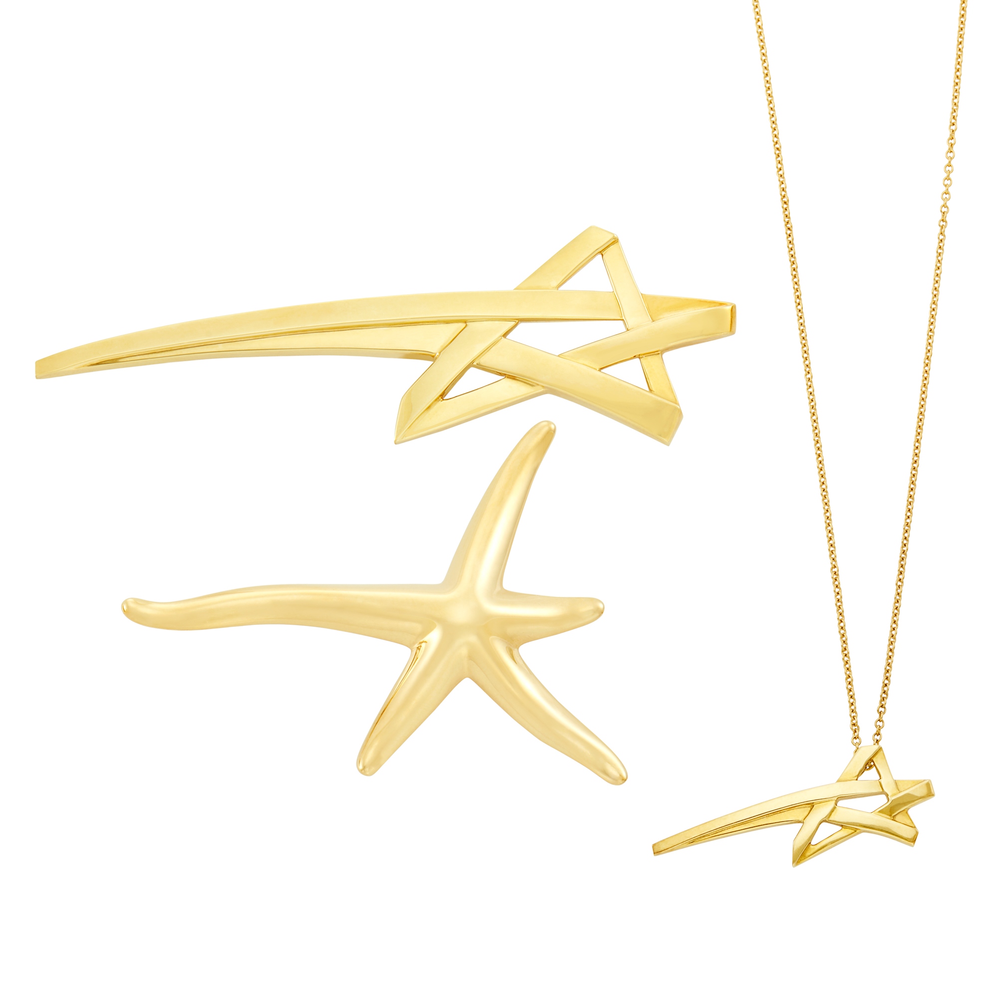 Lot image - Tiffany & Co., Elsa Peretti, Paloma Picasso Gold Starfish Brooch and Gold Star Brooch and Pendant-Necklace