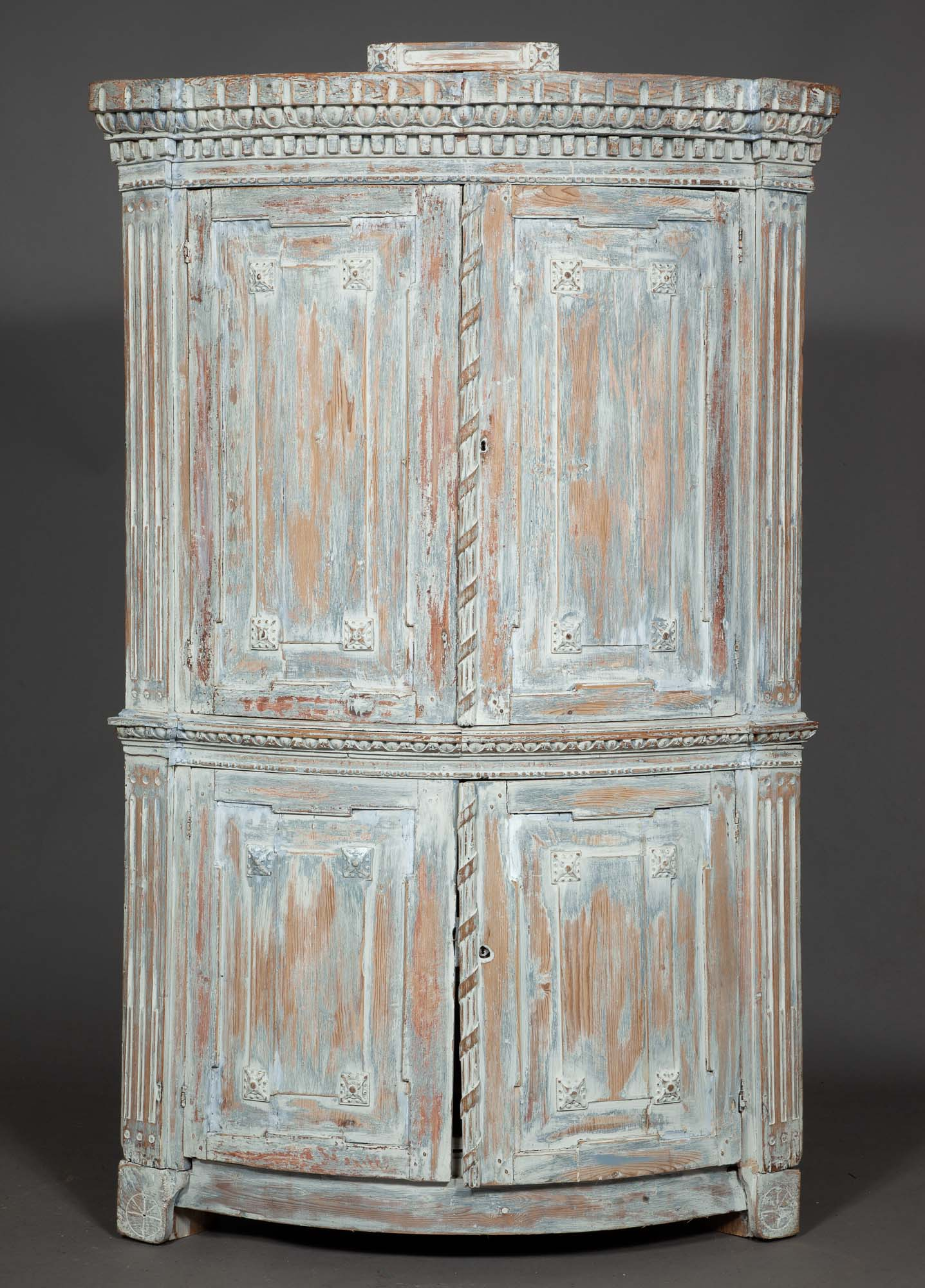Lot image - Continental Neoclassical Painted Corner Cabinet