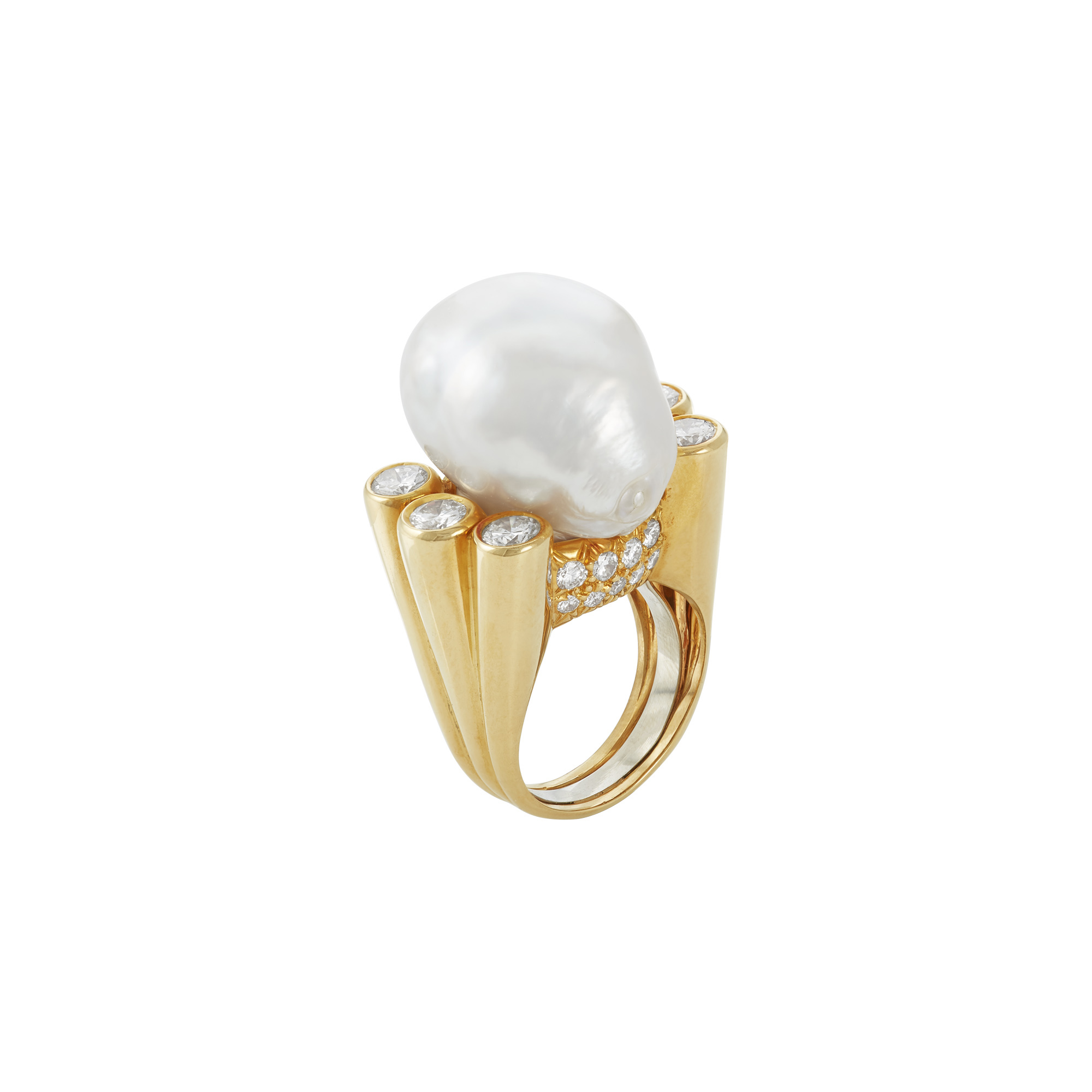 Lot image - Gold, Cultured Pearl and Diamond Ring, David Webb
