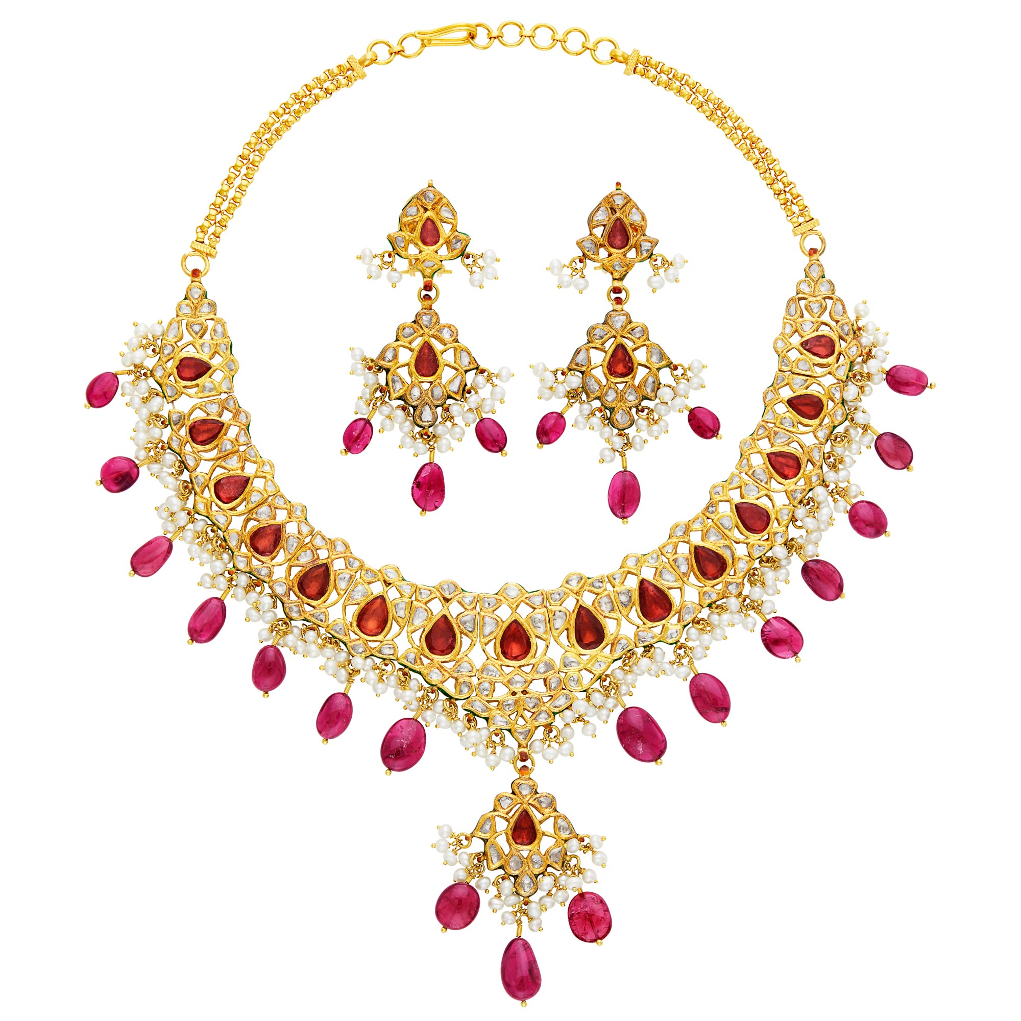 Lot image - Indian Gold, Pink Tourmaline, Diamond, Freshwater Pearl and Jaipur Enamel Fringe Necklace and Pair of Pendant-Earrings