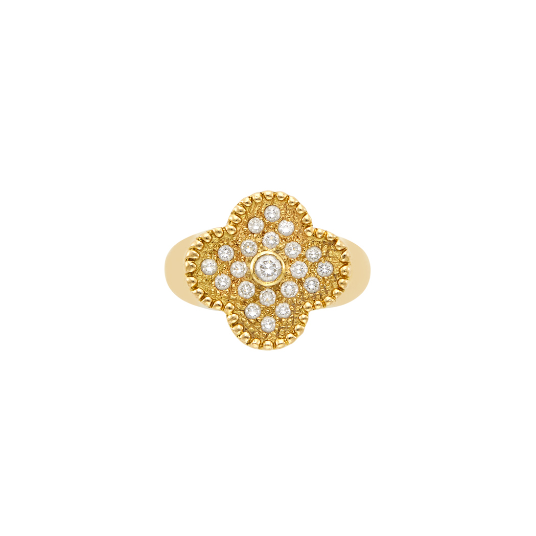 Lot image - Gold and Diamond 'Alhambra' Ring, Van Cleef & Arpels, France