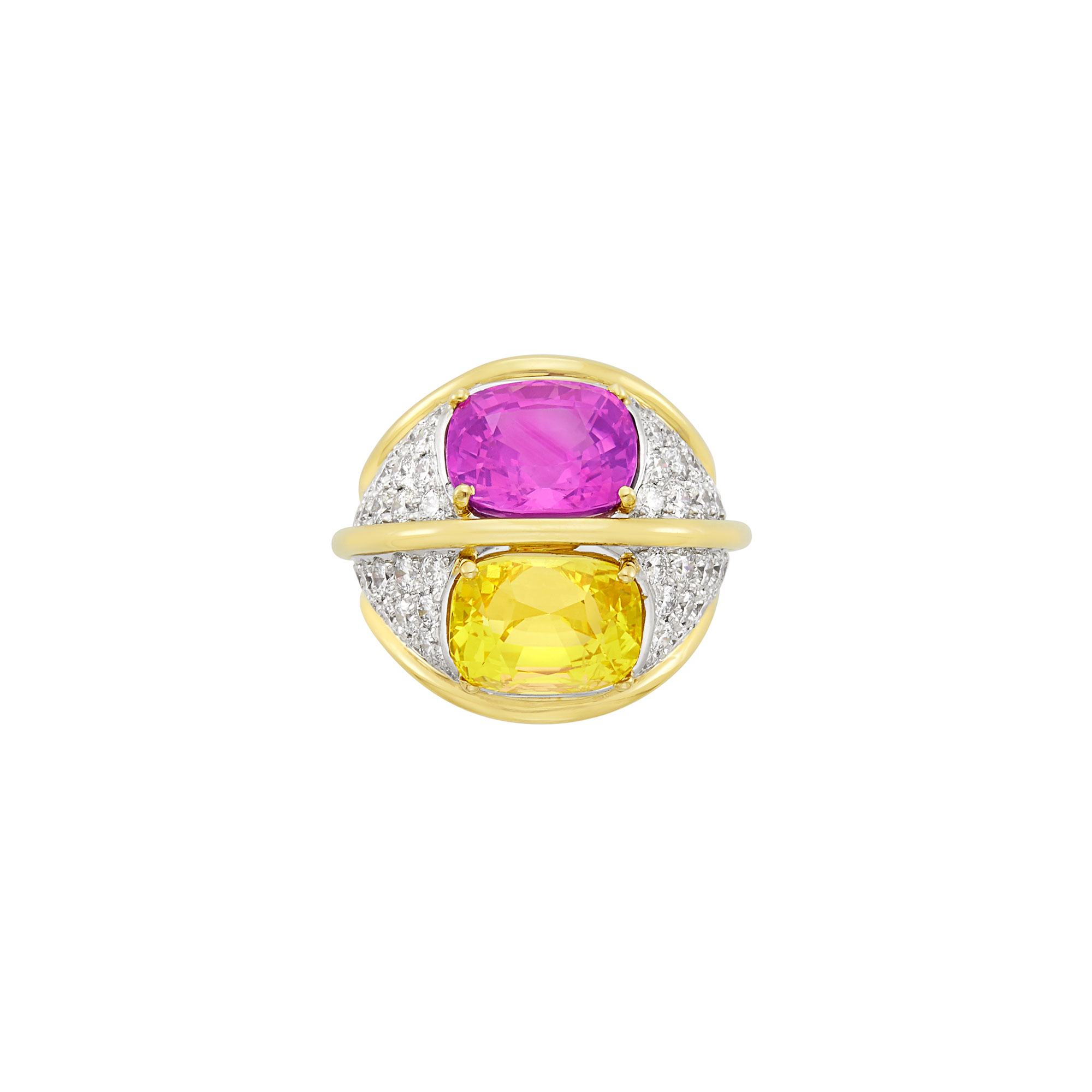 Lot image - Gold, Platinum, Yellow Sapphire, Pink Sapphire and Diamond Dome Ring, by Verdura