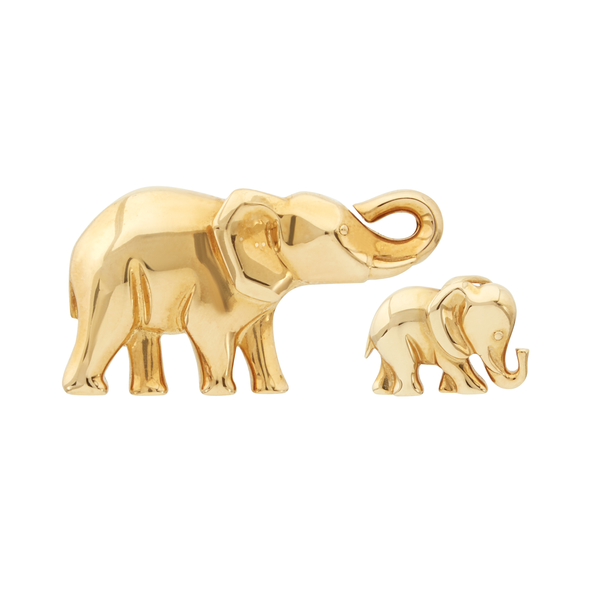 Lot image - Cartier Gold Elephant Pendant and Pin, France