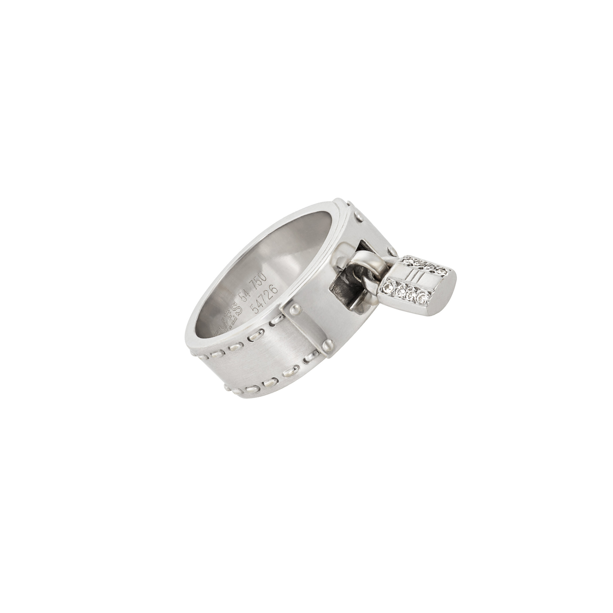Lot image - Hermès White Gold and Diamond Kelly Band Ring, France