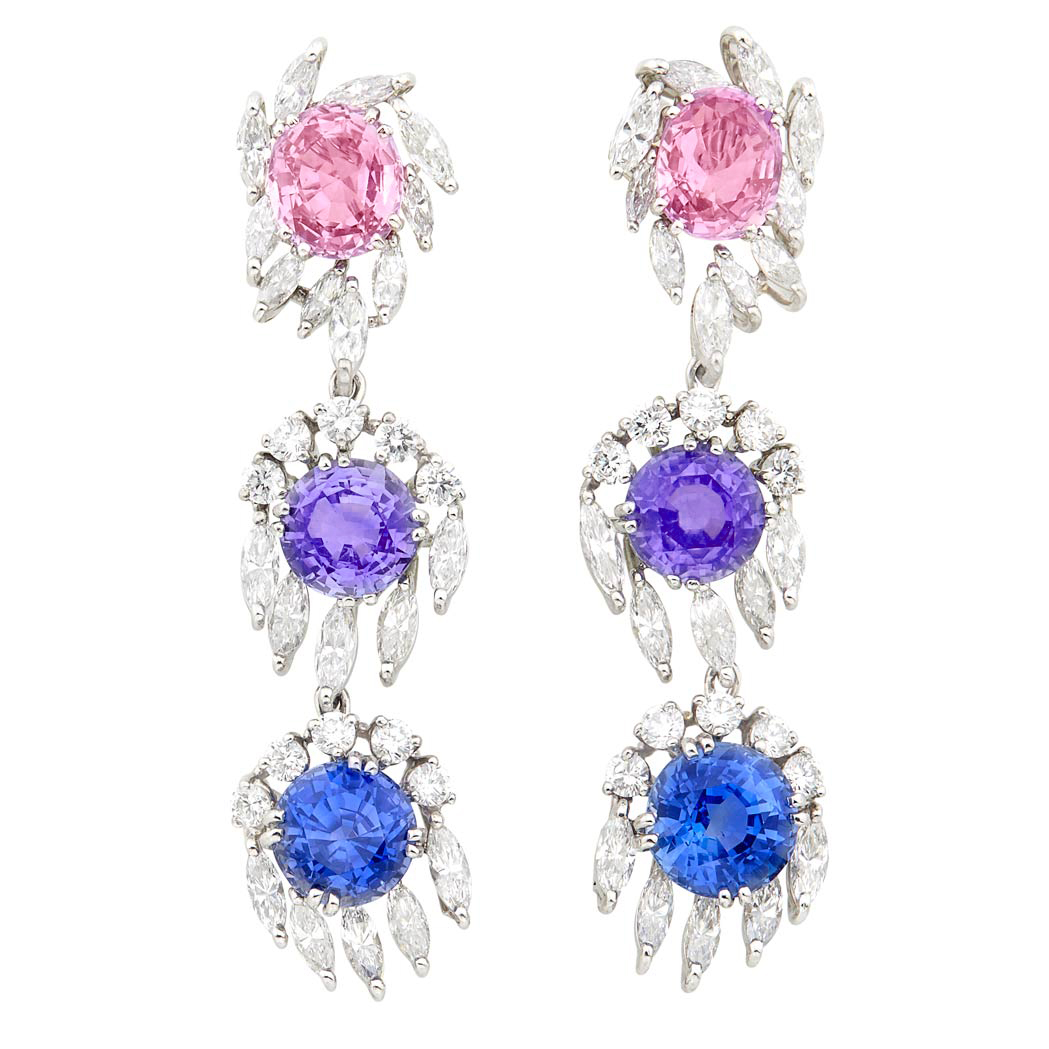 Lot image - Pair of Platinum, Multicolored Sapphire and Diamond Pendant-Earrings