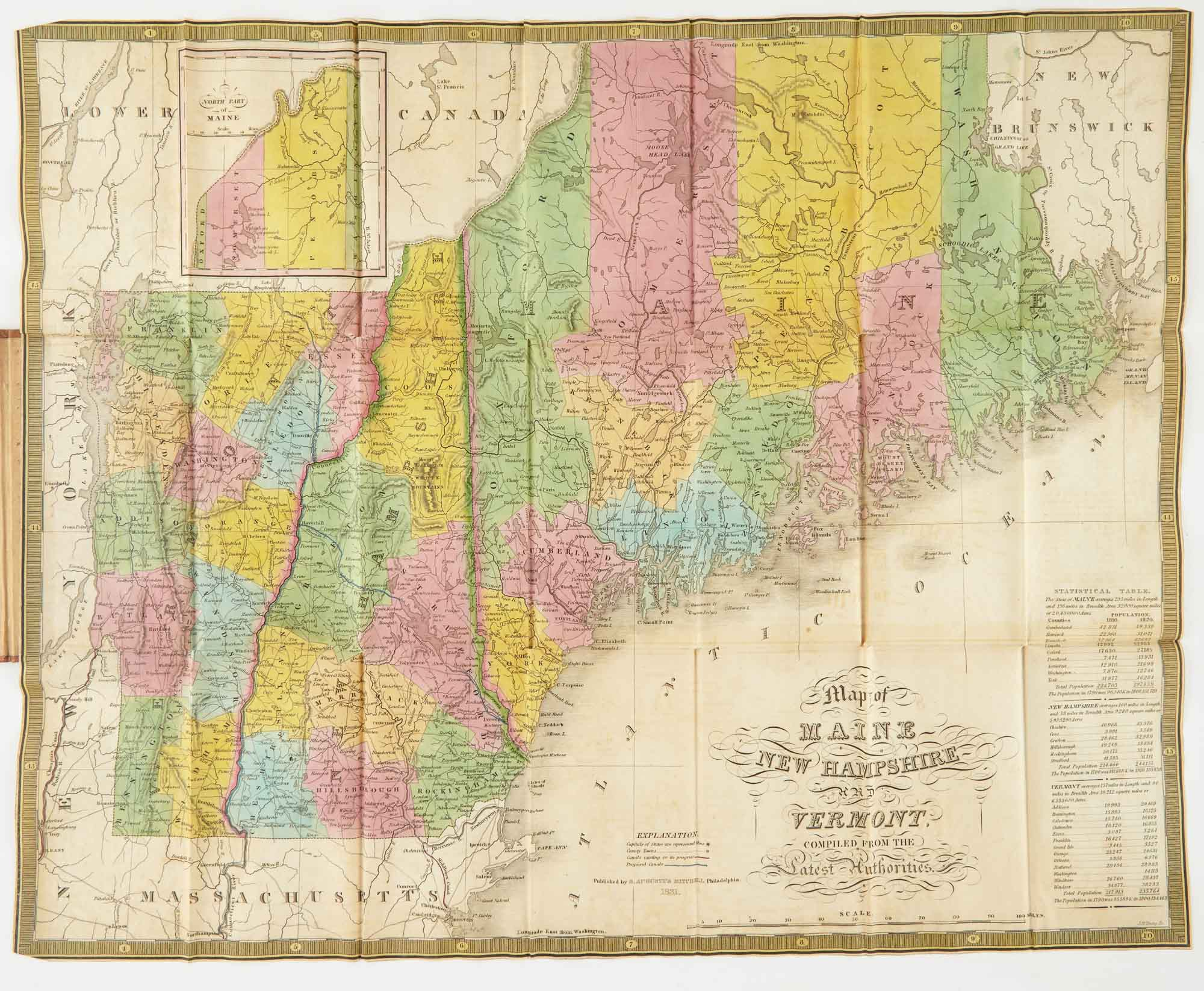 Lot image - MITCHELL, SAMUEL AUGUSTUS  Map of Maine New Hampshire and Vermont Compiled from the Latest Authorities.