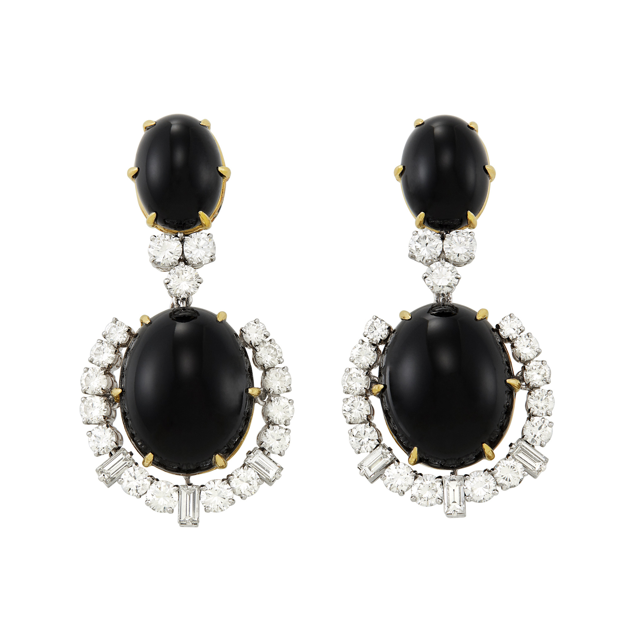 Lot image - Pair of Platinum, Gold, Black Onyx and Diamond Pendant-Earclips