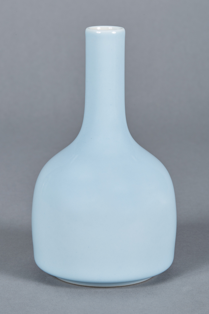 Lot image - Chinese Clair de Lune Glazed Porcelain Mallet-Form Vase