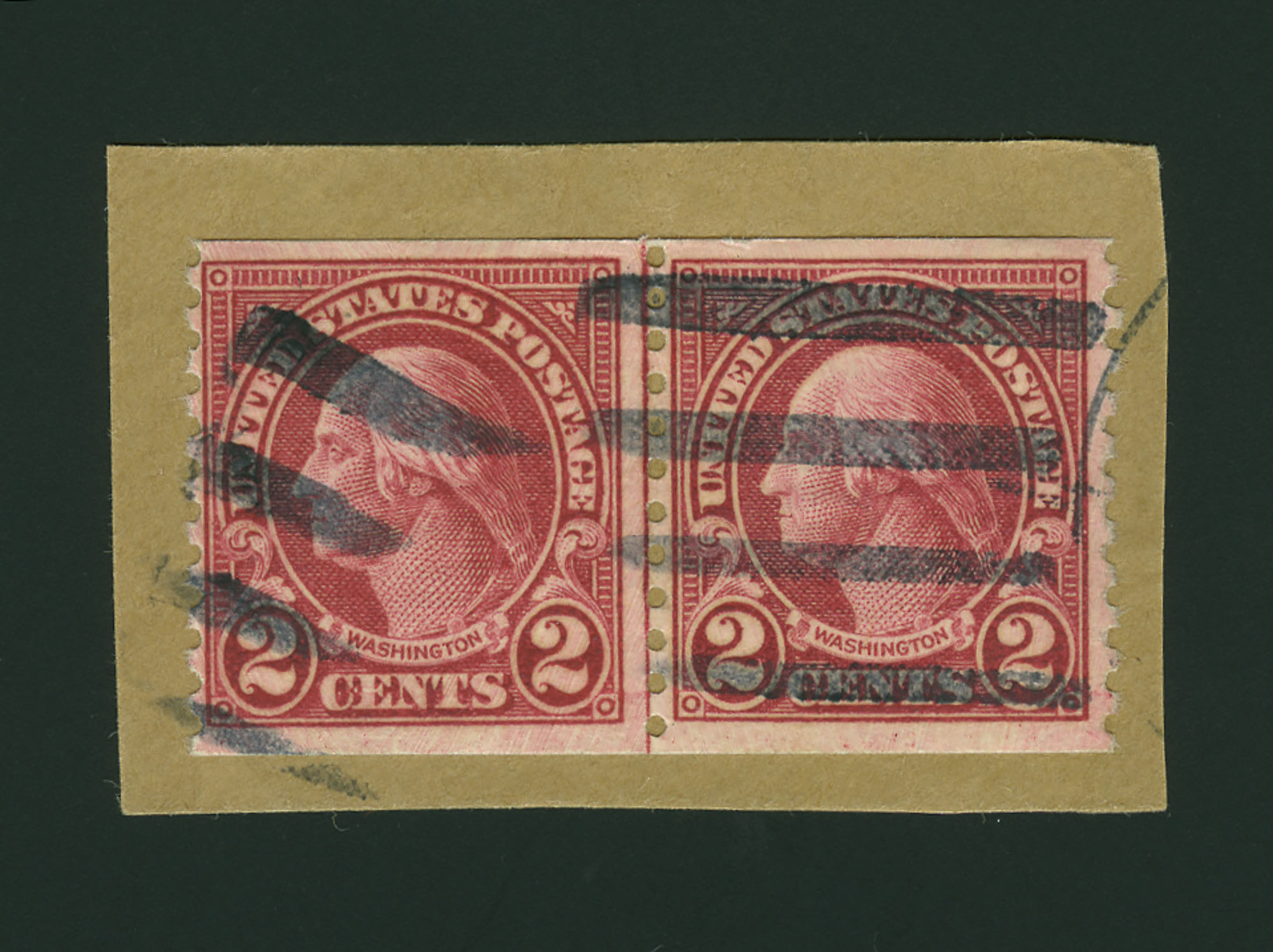 Lot image - United States 1929 2 Cents Combination Joint Line Pair Types I and II Scott 599, 599A