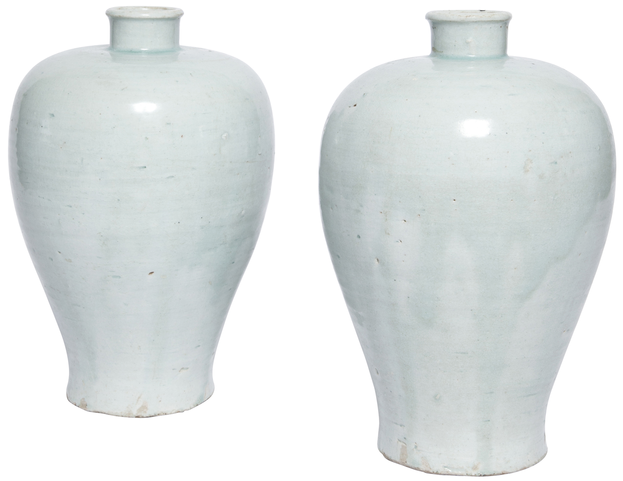 Lot image - Two Exceptionally Rare Chinese Glazed Qingbai Ware Vases