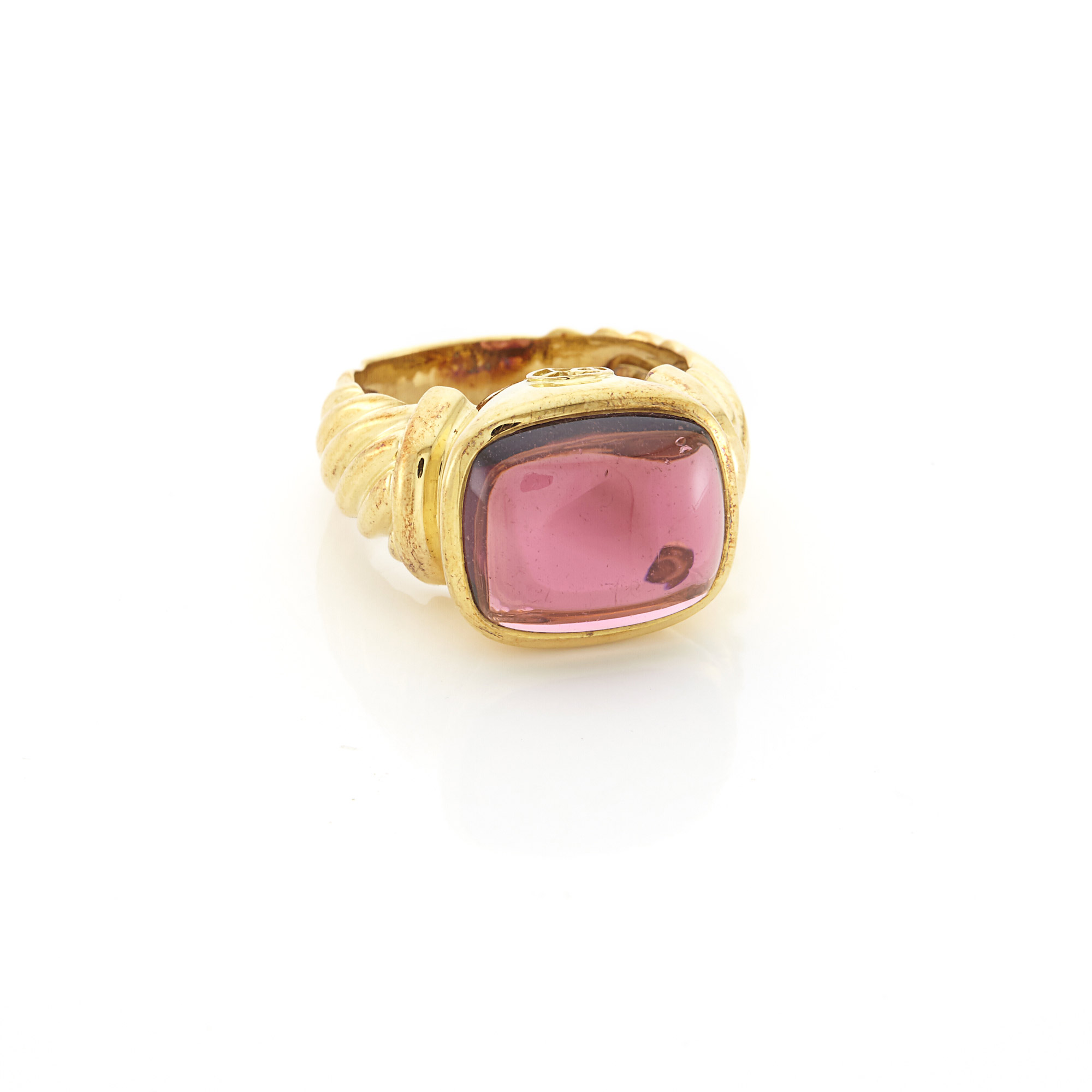 Lot image - Gold and Cabochon Pink Tourmaline Ring, David Yurman