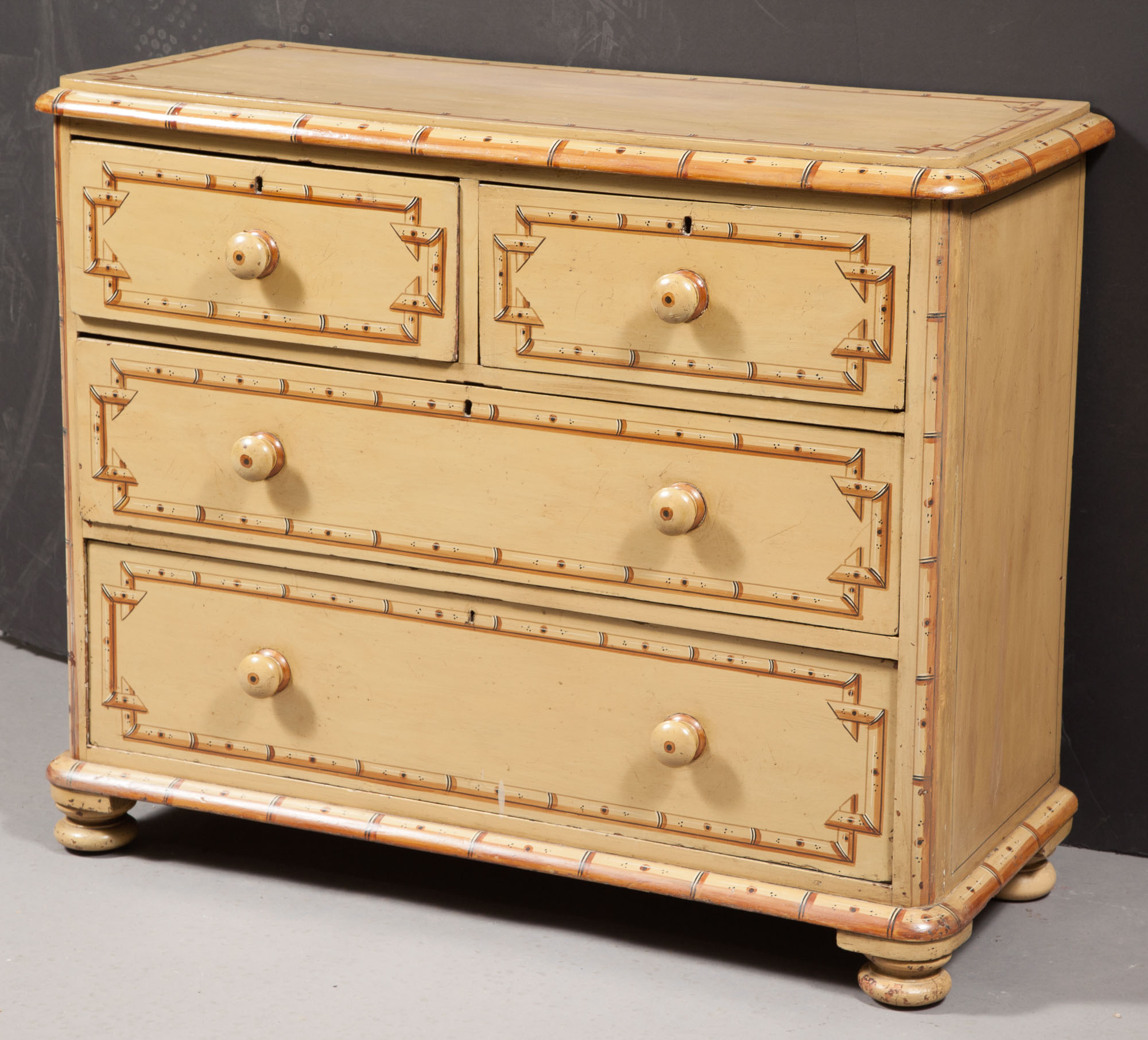 Lot image - Victorian Faux Bamboo-Painted Chest of Drawers