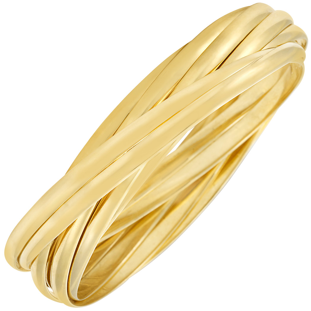 Lot image - Gold 'Melody' Nine Band Bangle Bracelet, Tiffany & Co., Paloma Picasso