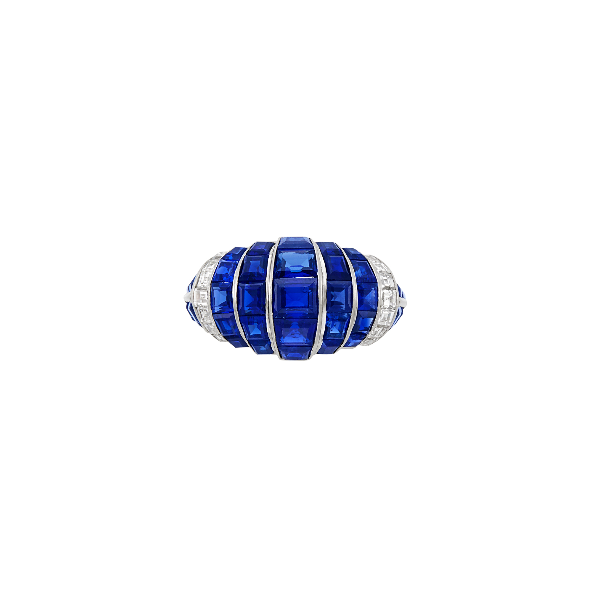 Lot image - Platinum, Sapphire and Diamond Bombé Ring, Cartier, London