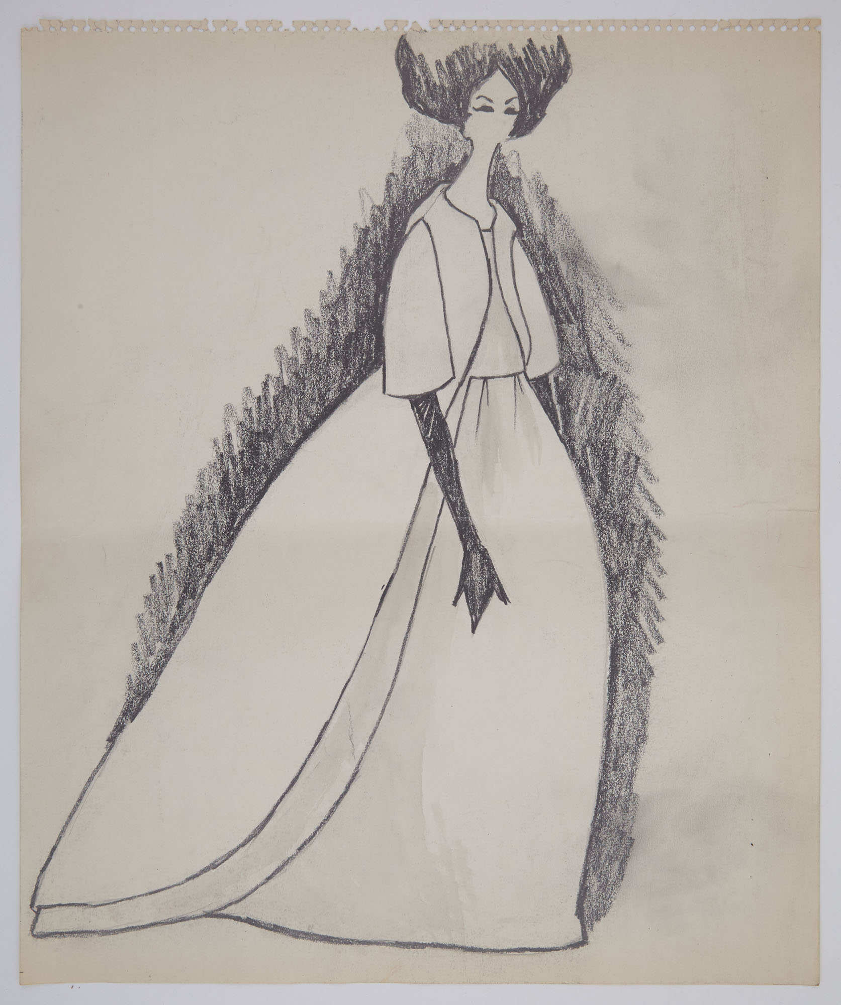 Lot image - CASSINI, OLEG  Group of approximately 18 large Kennedy-era original fashion sketches of mostly evening gowns and dresses.