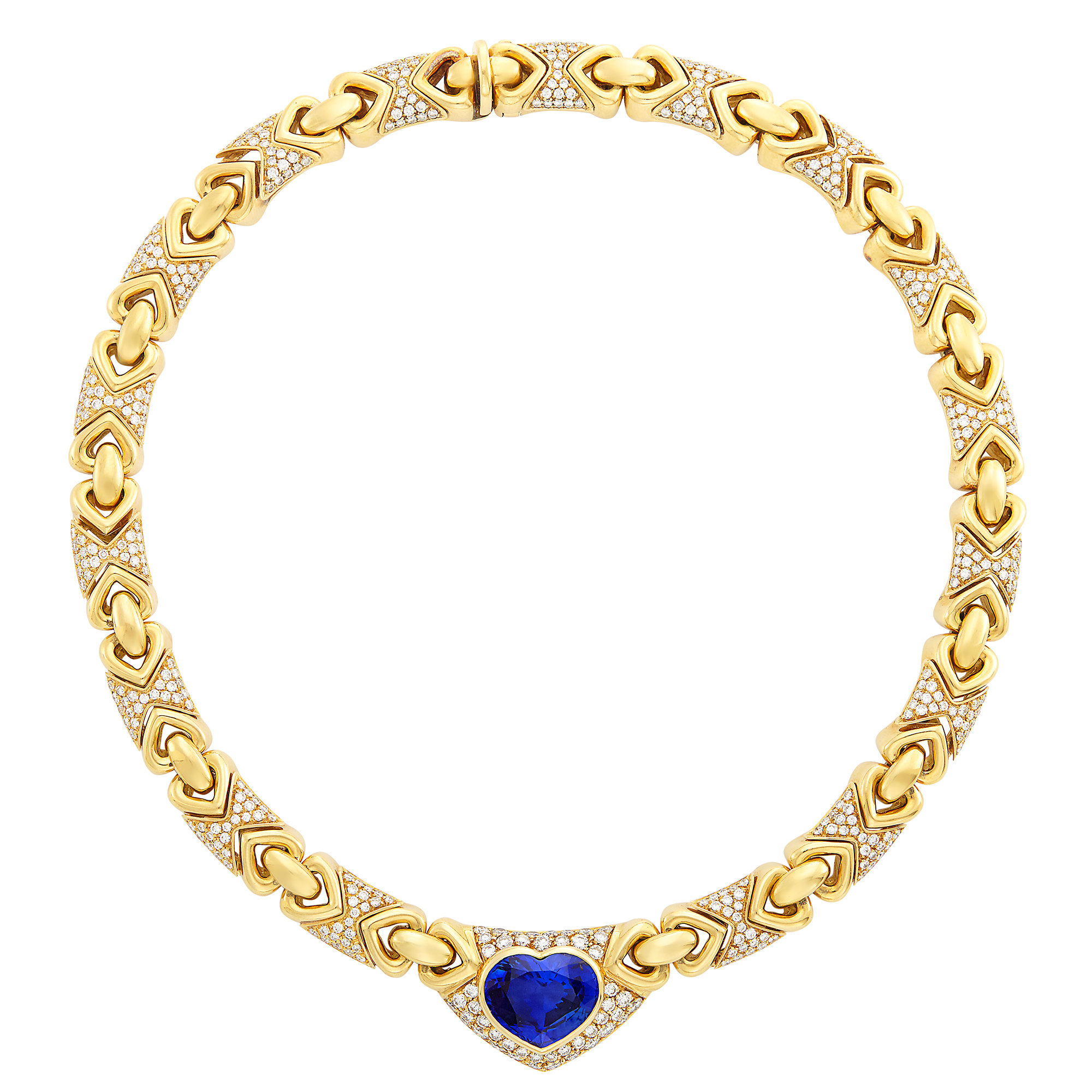 Lot image - Gold, Sapphire and Diamond Necklace, Bulgari