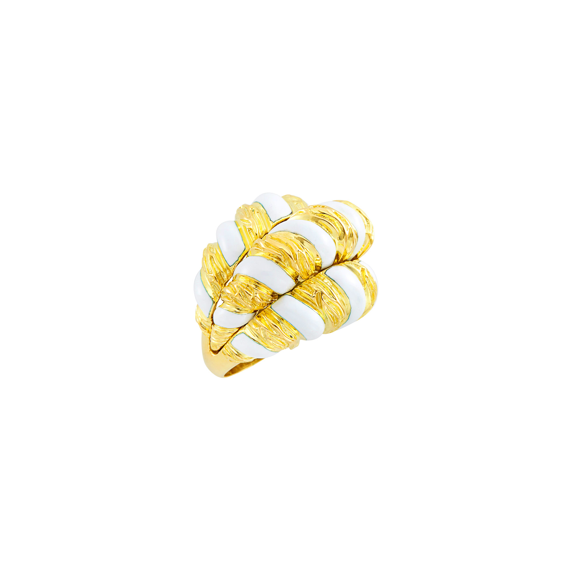 Lot image - Gold and White Enamel Bombé Ring, David Webb