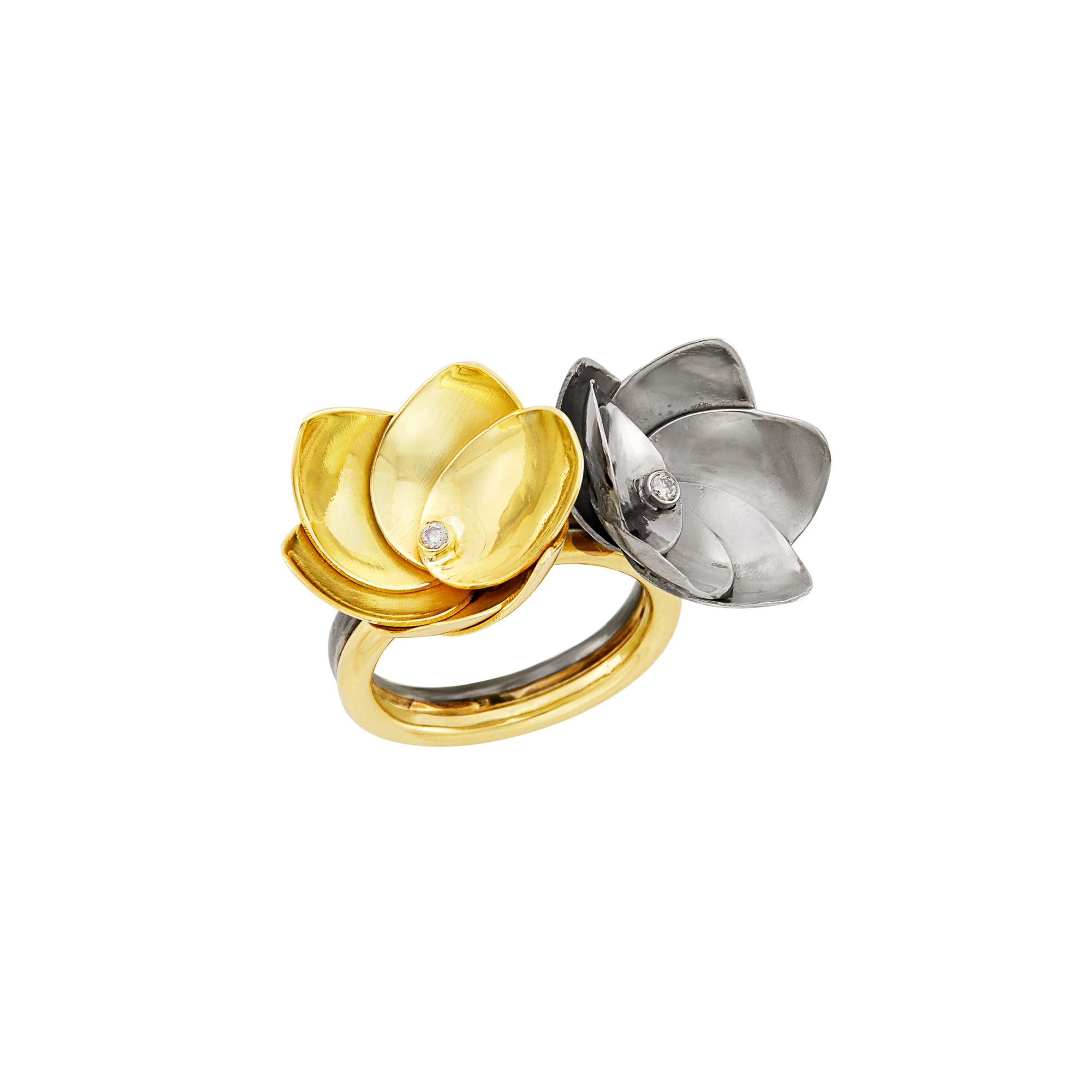 Lot image - Gold, Blackened Silver and Diamond Lotus Flower Ring, by Rebecca Koven