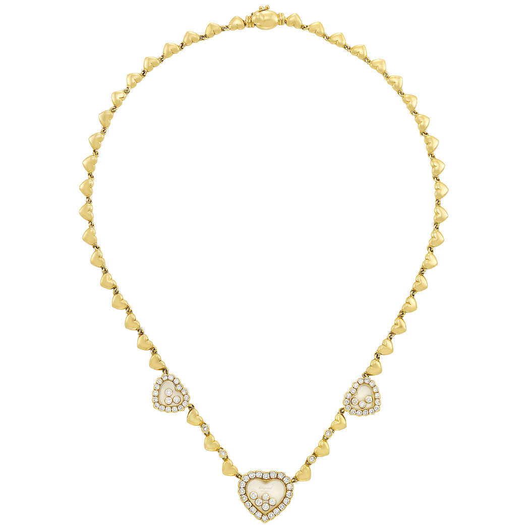 Lot image - Gold, Crystal and Diamond 'Happy Diamond' Necklace, Chopard