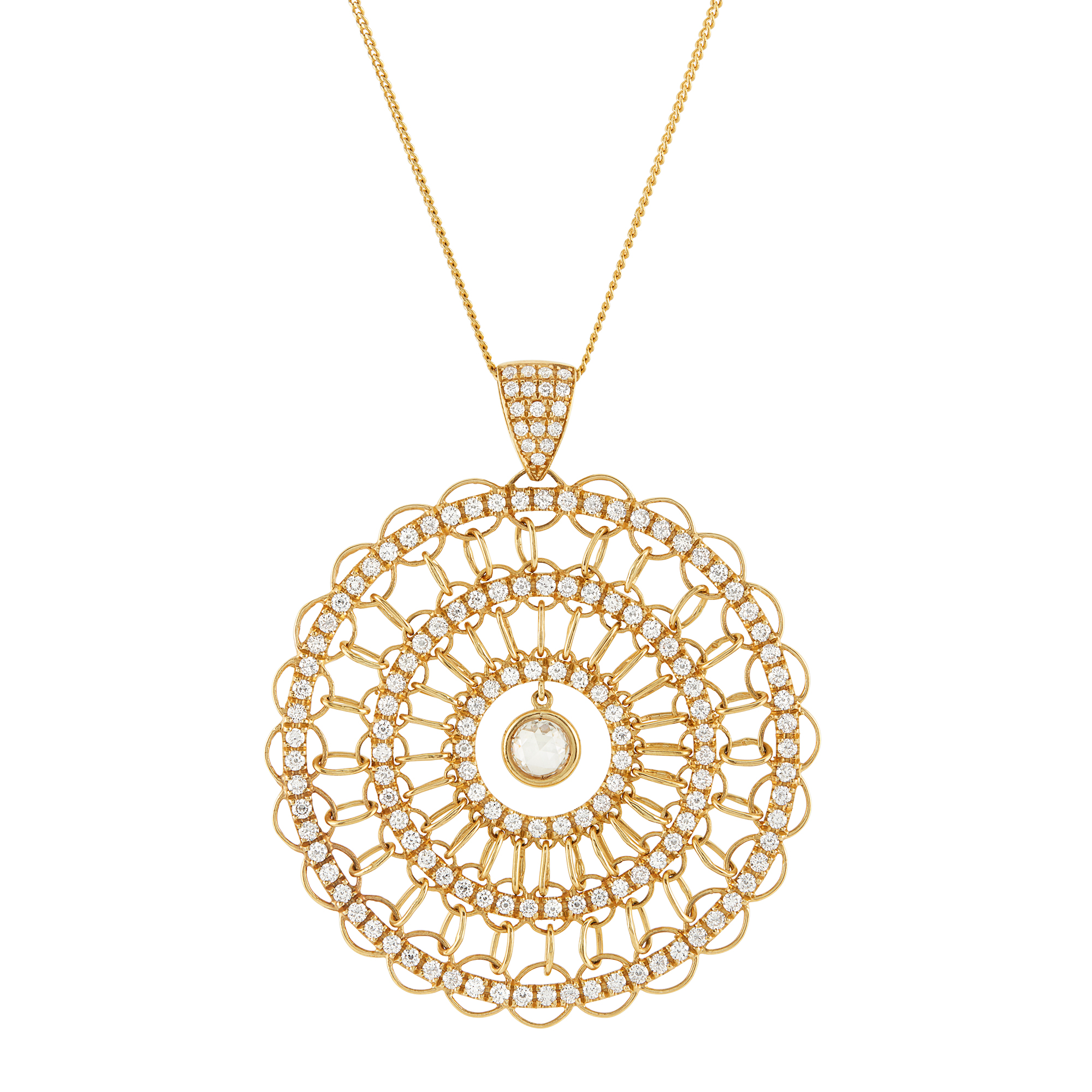 Lot image - Gold and Diamond Pendant with Chain