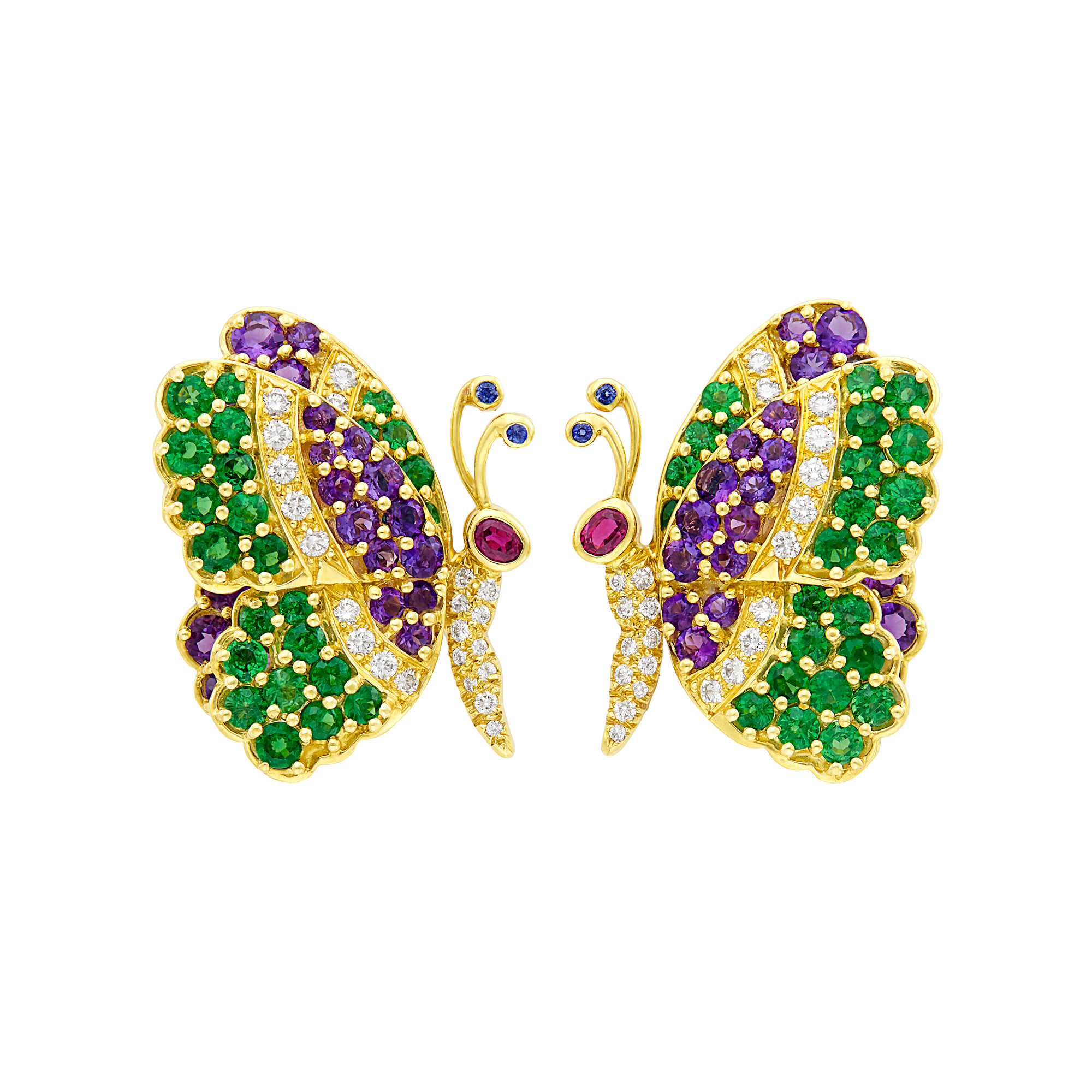 Lot image - Pair of Gold, Gem-Set and Diamond Butterfly Earclips, Jean Vitau