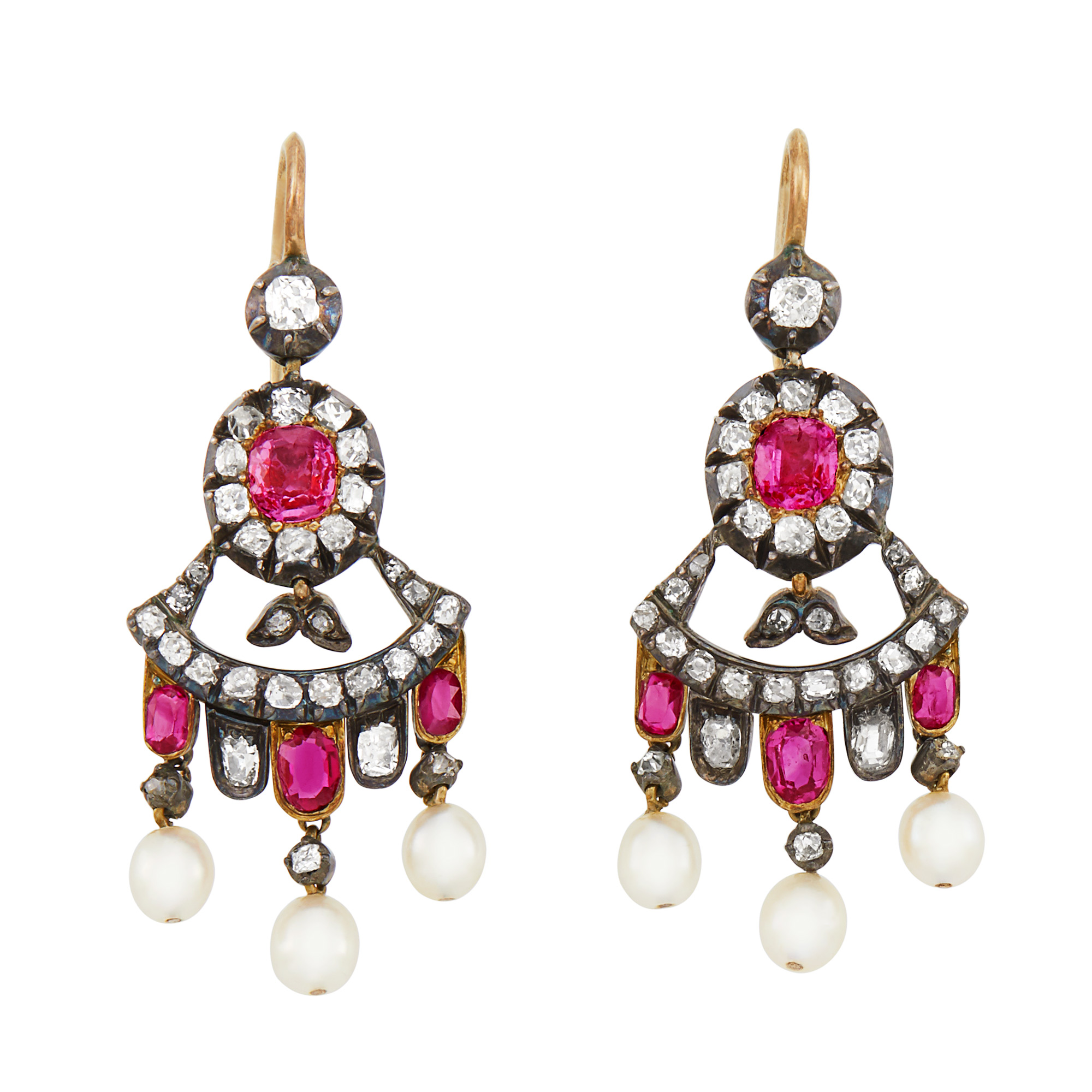 Lot image - Pair of Antique Silver, Gold, Ruby, Pearl and Diamond Girandole Pendant-Earrings