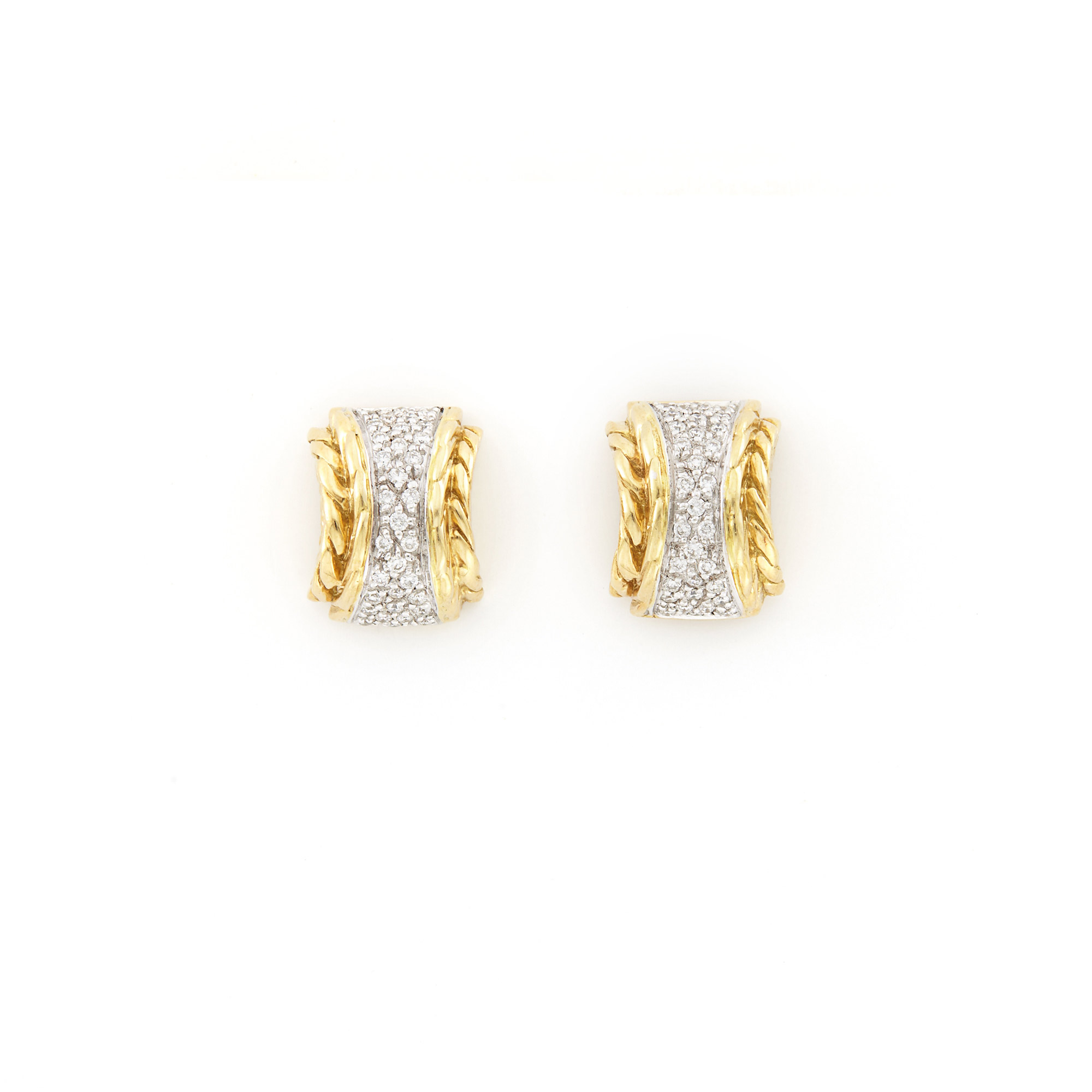 Lot image - Pair of Gold and Diamond Earrings, John Hardy