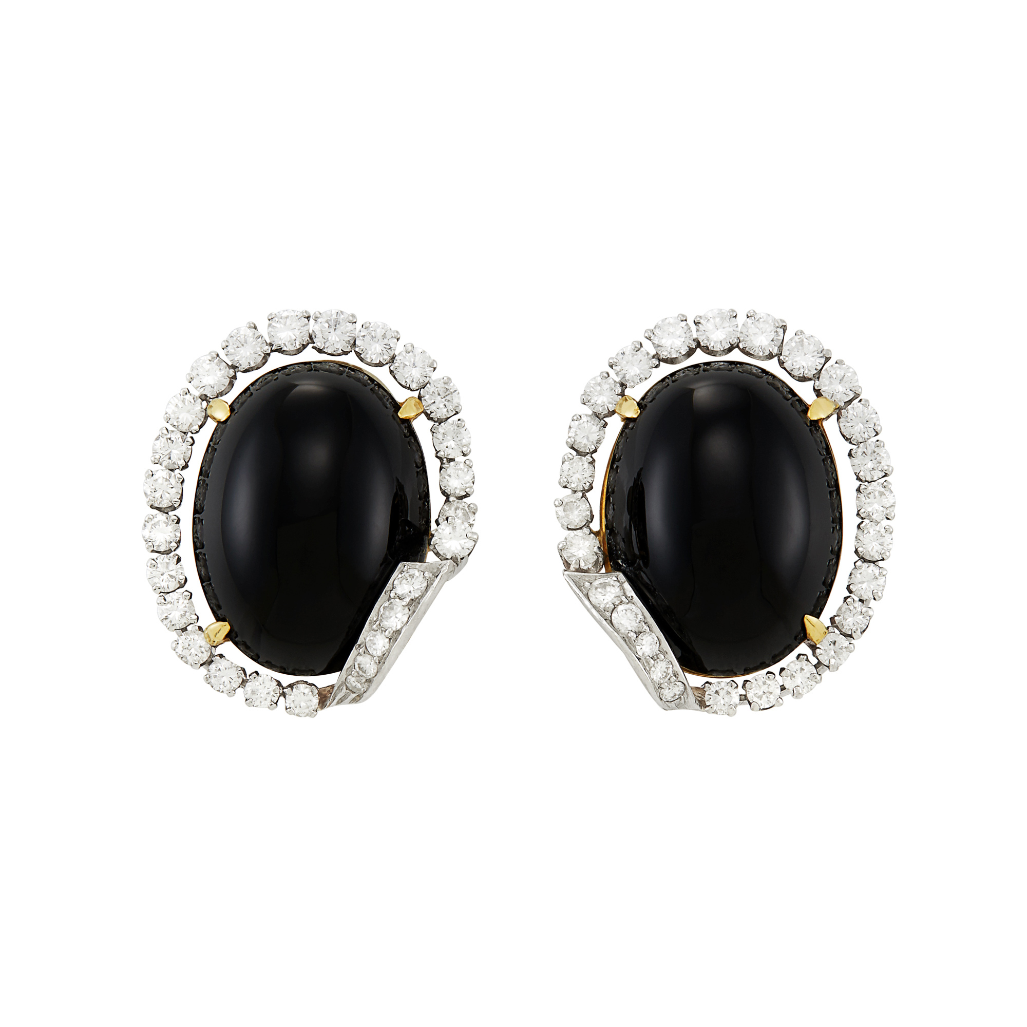 Lot image - Pair of Platinum, Gold, Black Onyx and Diamond Earclips