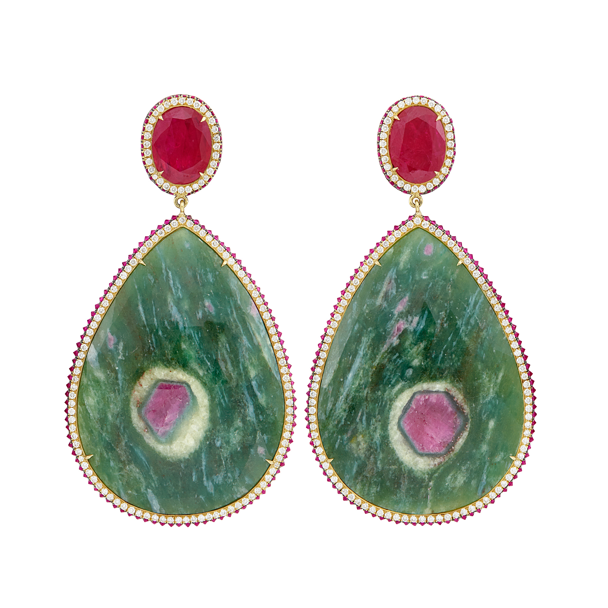 Lot image - Pair of Gold, Ruby in Zoisite and Diamond Pendant-Earrings, Lugano