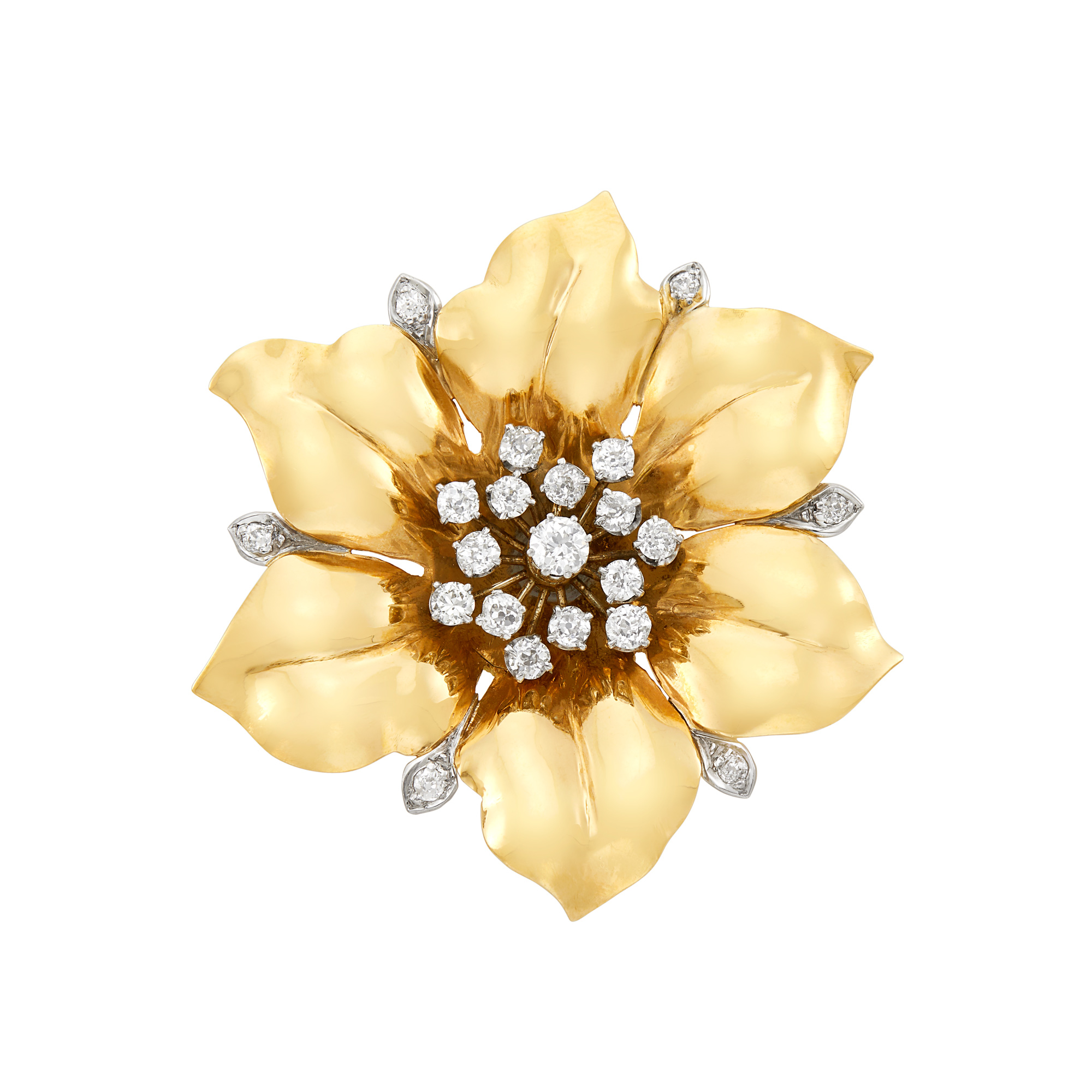 Lot image - Gold, Platinum and Diamond Flower Brooch